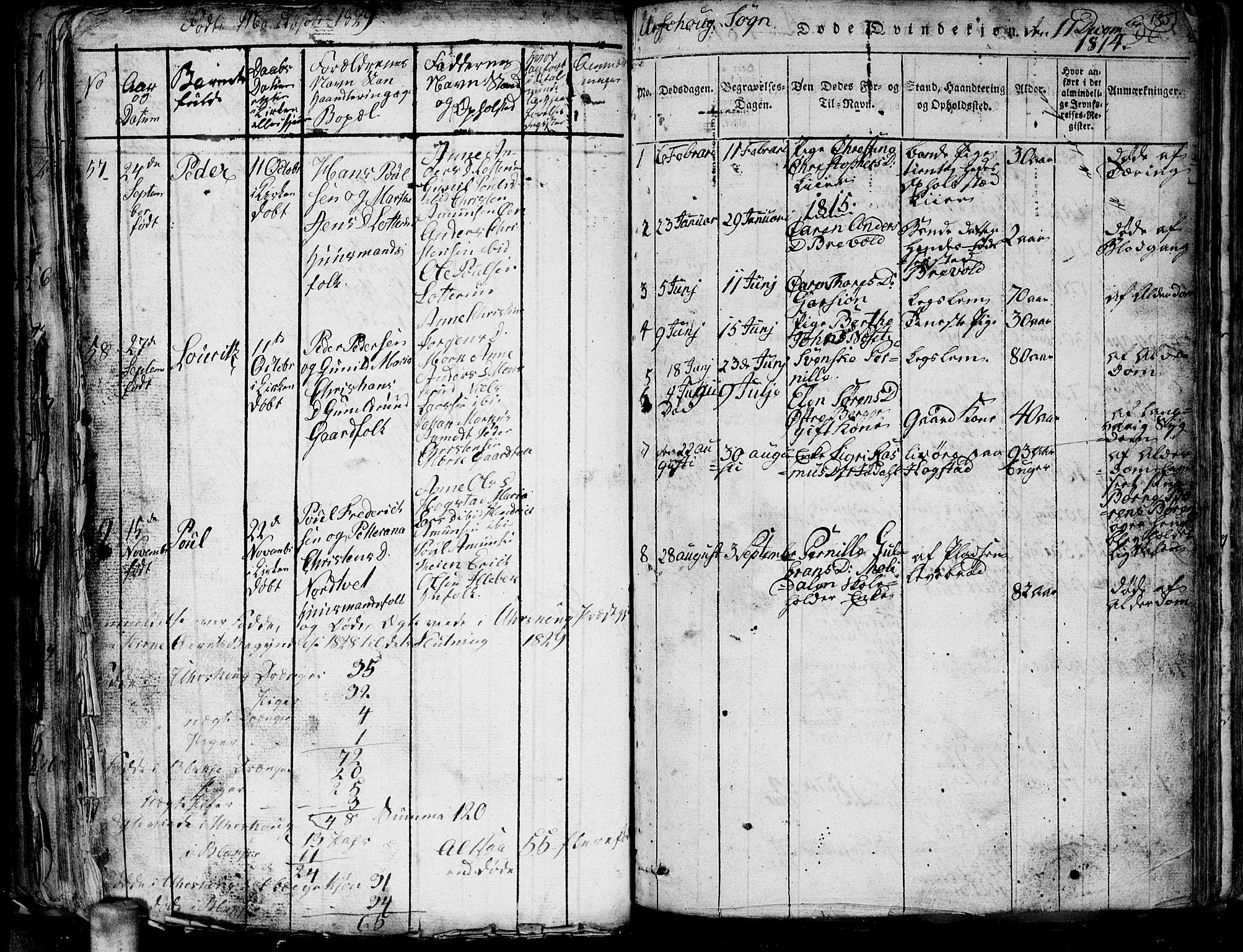 SAO, Aurskog prestekontor Kirkebøker, G/Ga/L0001: Klokkerbok nr. I 1, 1814-1829, s. 185