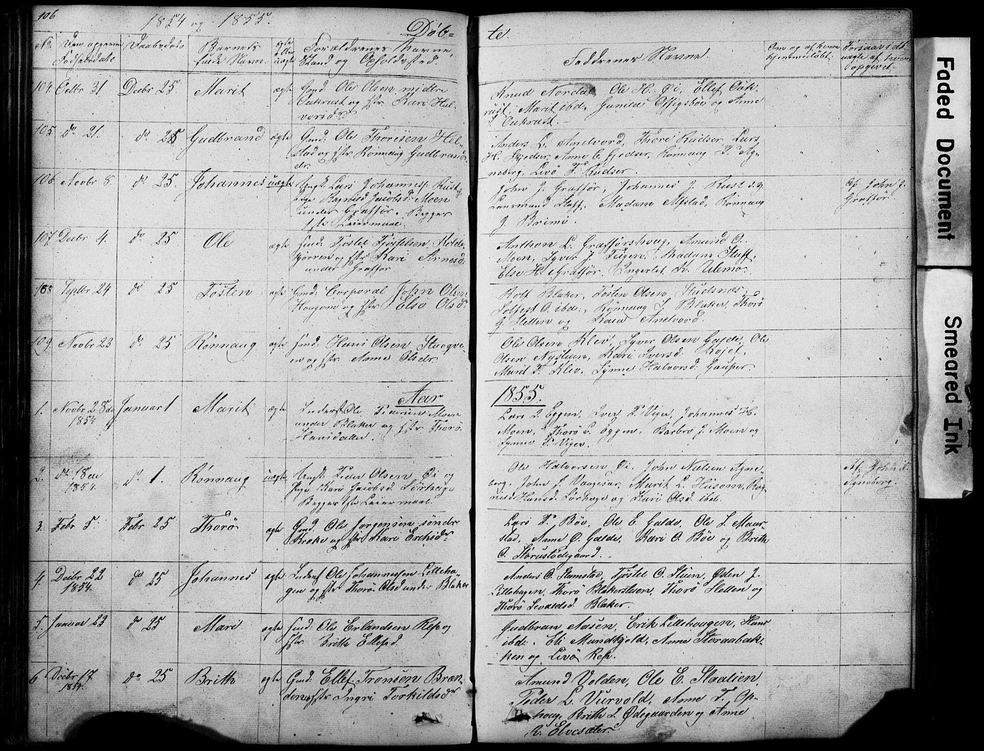SAH, Lom prestekontor, L/L0012: Klokkerbok nr. 12, 1845-1873, s. 106-107