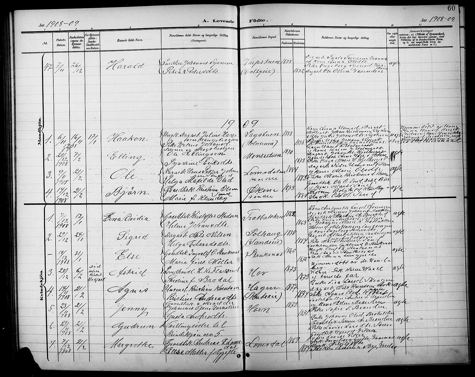 SAH, Søndre Land prestekontor, L/L0004: Klokkerbok nr. 4, 1901-1915, s. 60