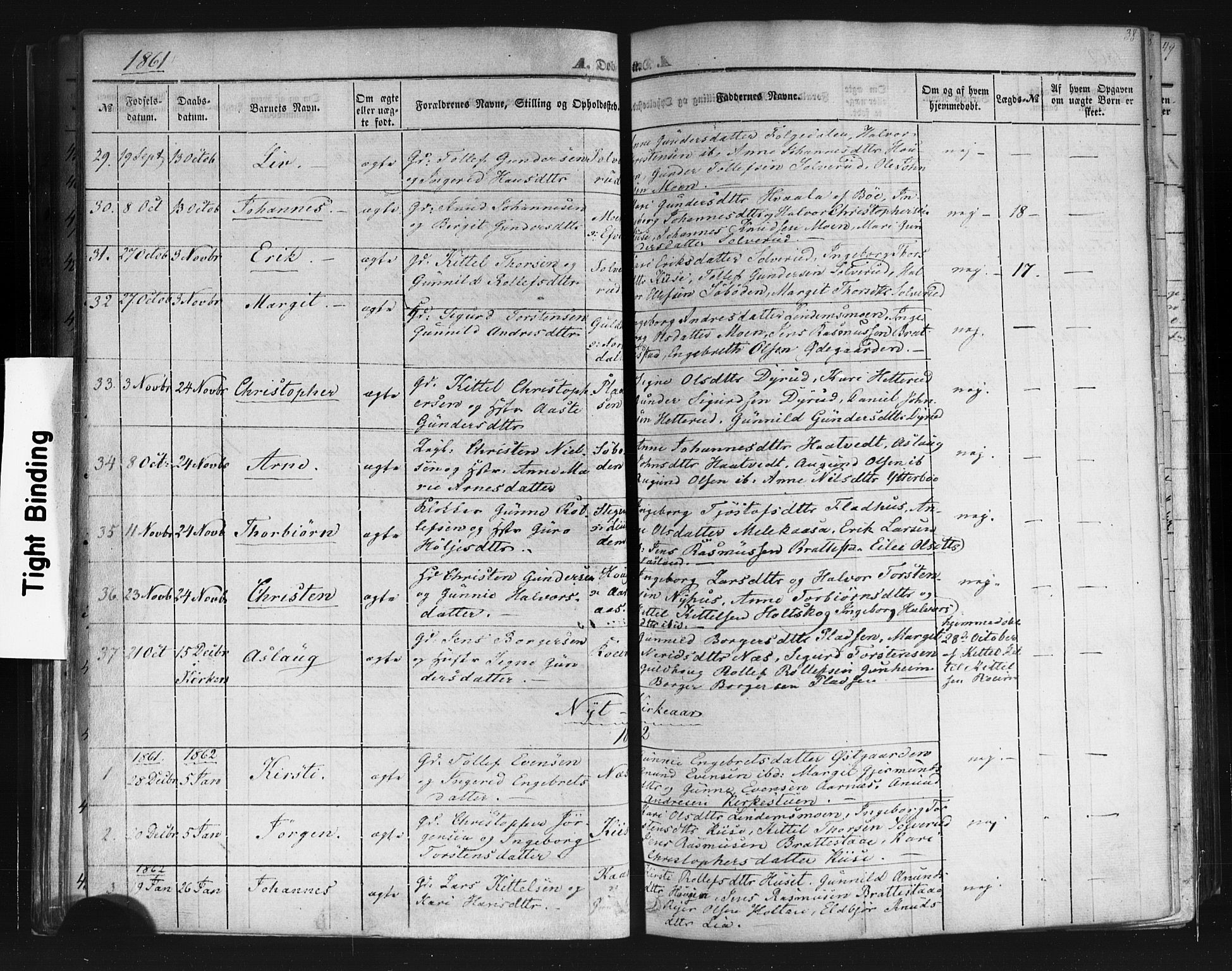 SAKO, Sauherad kirkebøker, F/Fb/L0001: Ministerialbok nr. II 1, 1851-1877, s. 38