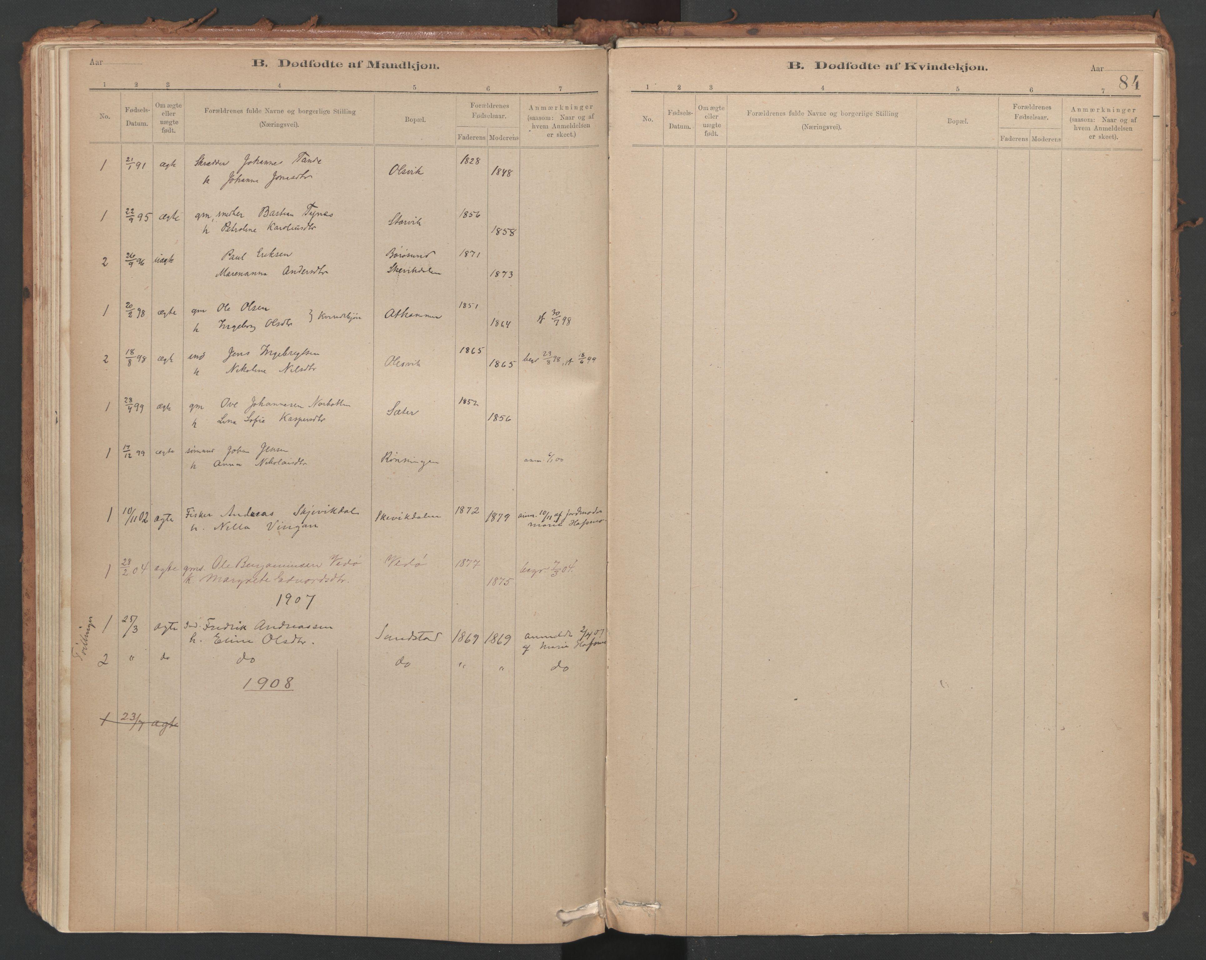 SAT, Ministerialprotokoller, klokkerbøker og fødselsregistre - Sør-Trøndelag, 639/L0572: Ministerialbok nr. 639A01, 1890-1920, s. 84