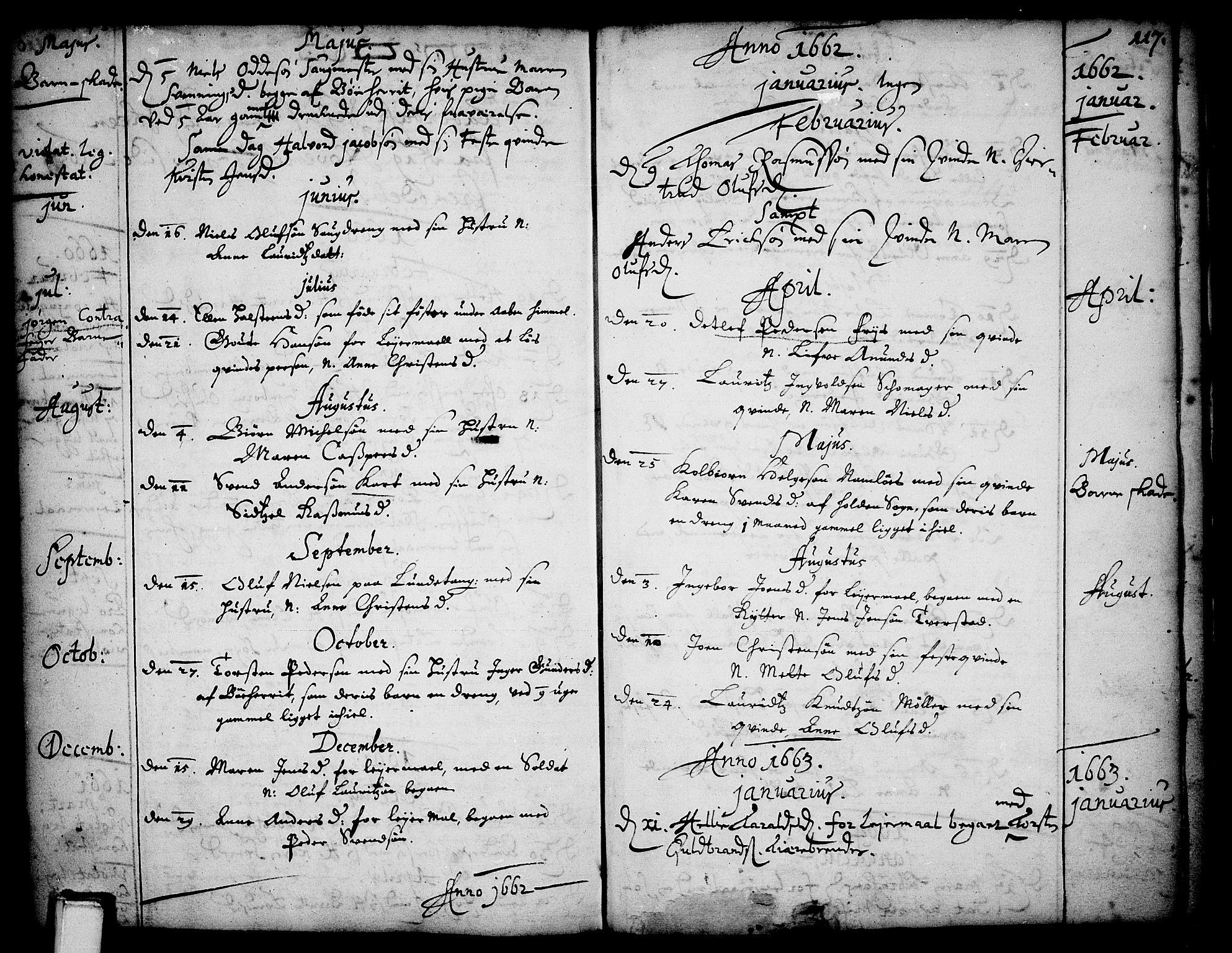 SAKO, Skien kirkebøker, F/Fa/L0001: Ministerialbok nr. 1, 1659-1679, s. 117