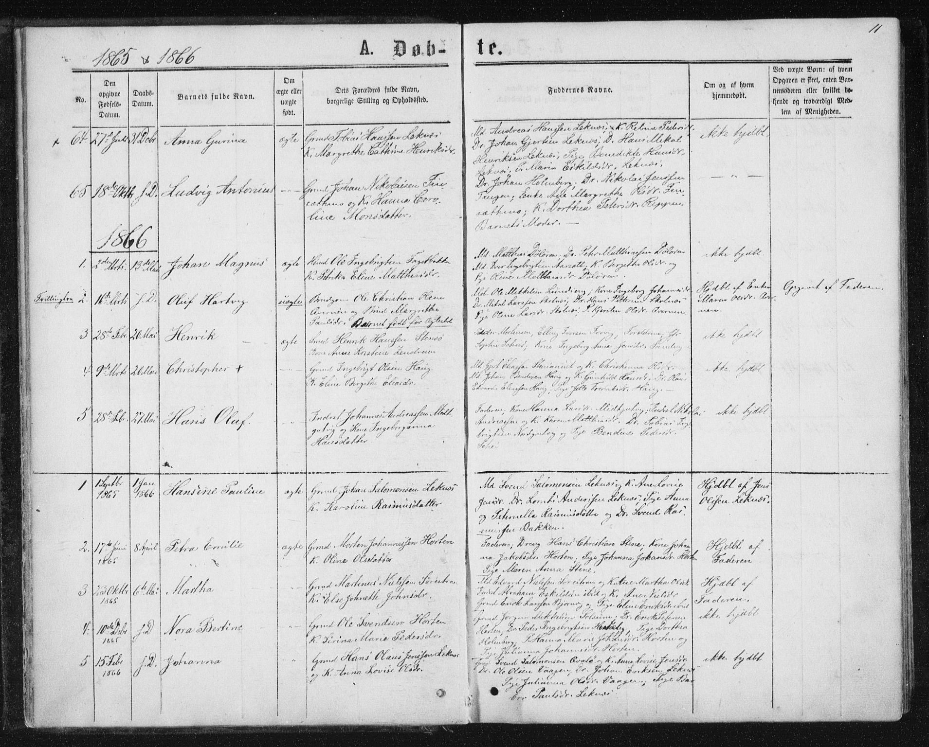 SAT, Ministerialprotokoller, klokkerbøker og fødselsregistre - Nord-Trøndelag, 788/L0696: Ministerialbok nr. 788A03, 1863-1877, s. 11