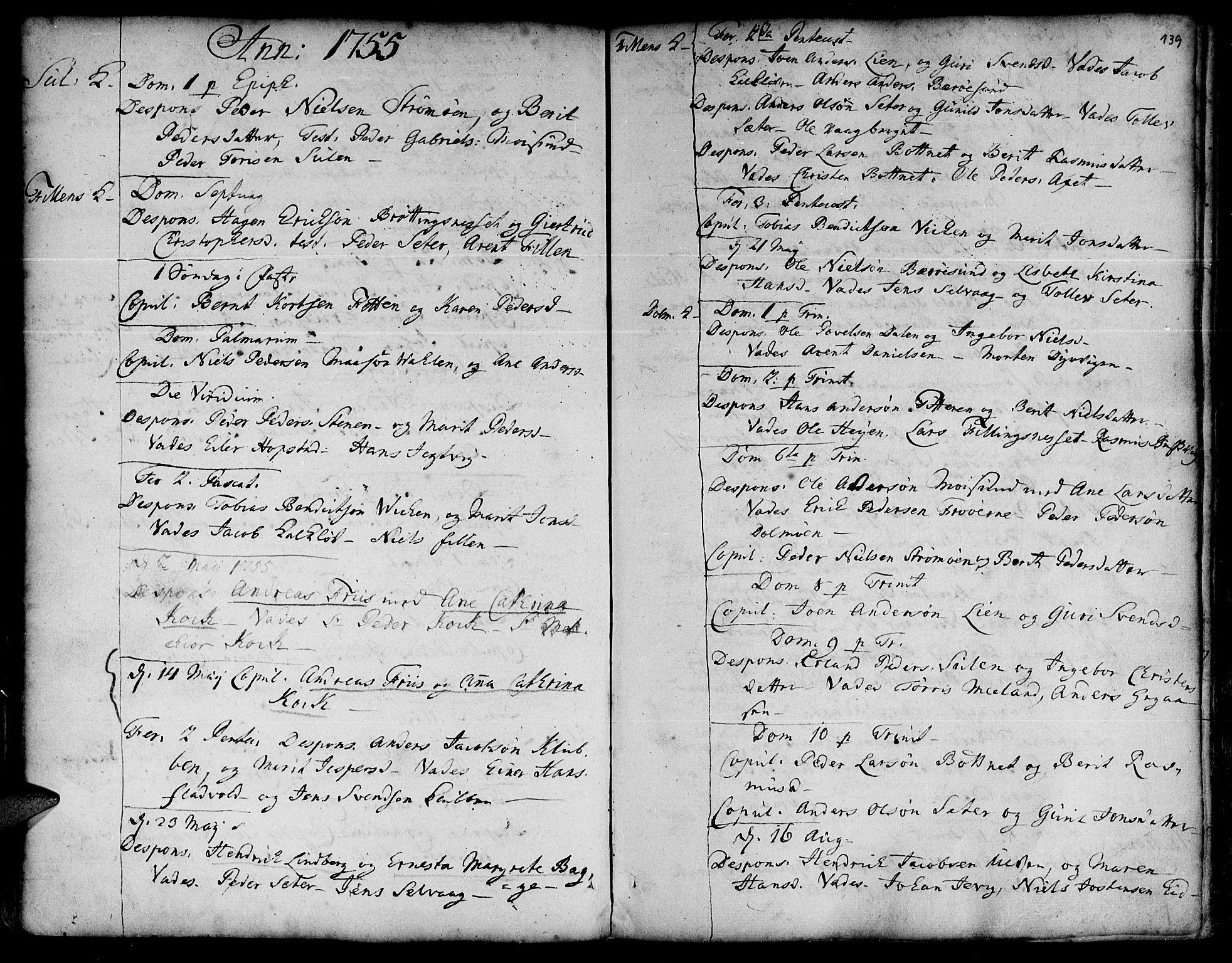 SAT, Ministerialprotokoller, klokkerbøker og fødselsregistre - Sør-Trøndelag, 634/L0525: Ministerialbok nr. 634A01, 1736-1775, s. 139