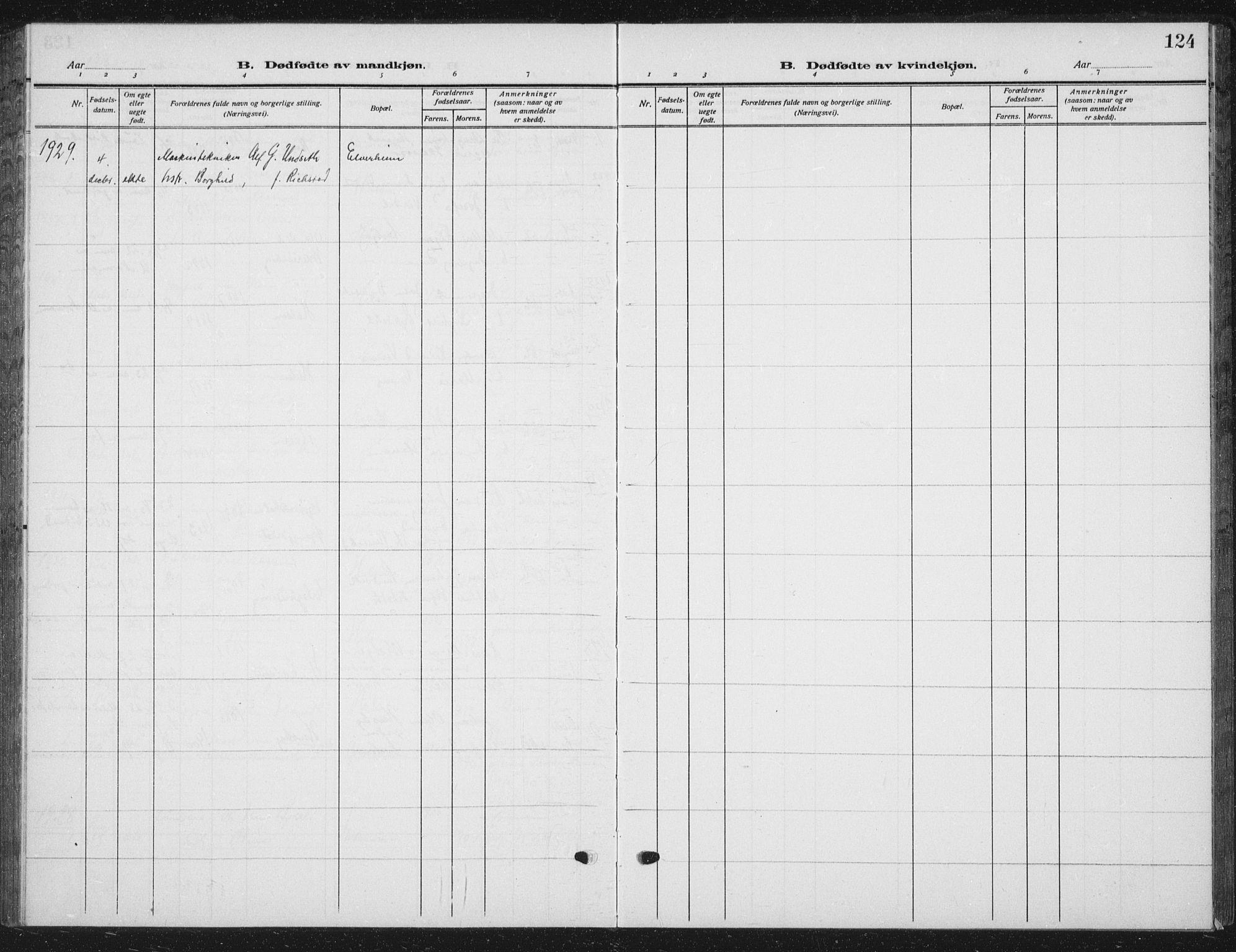SAT, Ministerialprotokoller, klokkerbøker og fødselsregistre - Nord-Trøndelag, 709/L0088: Klokkerbok nr. 709C02, 1914-1934, s. 124