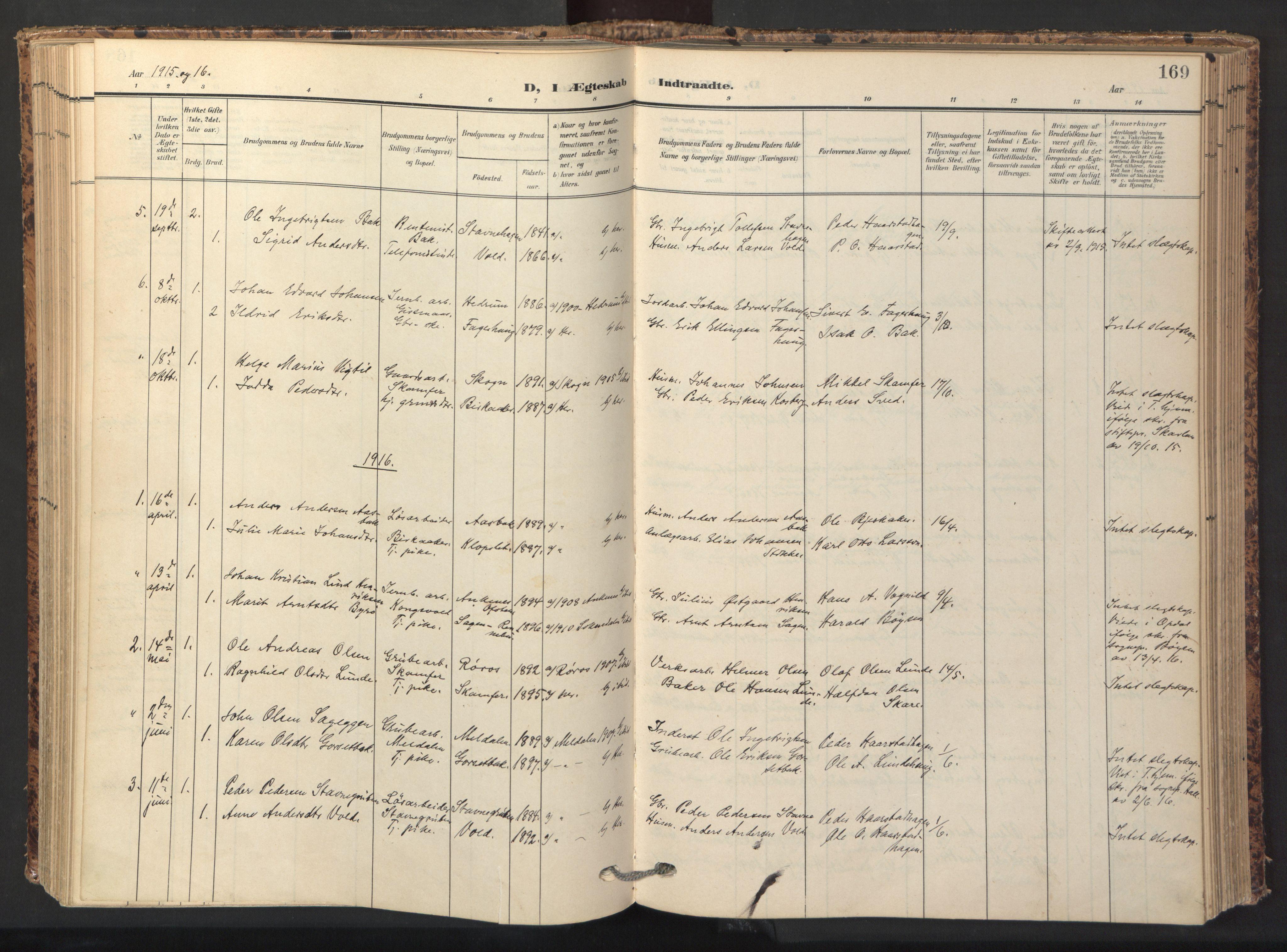 SAT, Ministerialprotokoller, klokkerbøker og fødselsregistre - Sør-Trøndelag, 674/L0873: Ministerialbok nr. 674A05, 1908-1923, s. 169