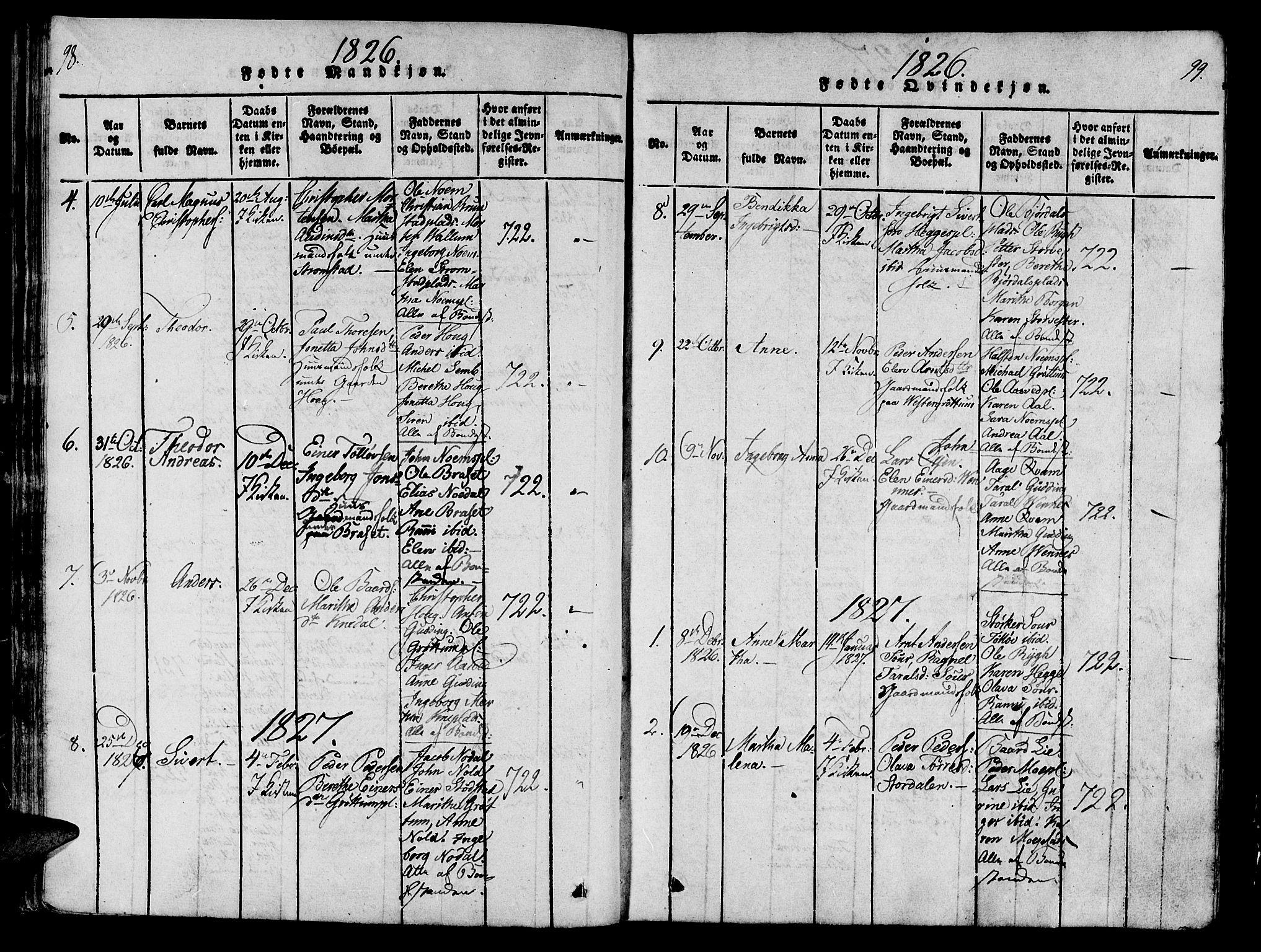 SAT, Ministerialprotokoller, klokkerbøker og fødselsregistre - Nord-Trøndelag, 746/L0441: Ministerialbok nr. 746A03 /2, 1816-1827, s. 98-99