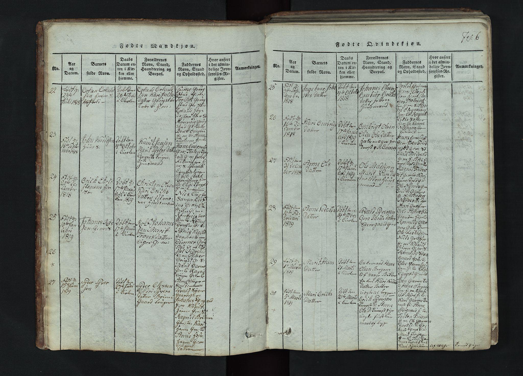 SAH, Lom prestekontor, L/L0002: Klokkerbok nr. 2, 1815-1844, s. 6