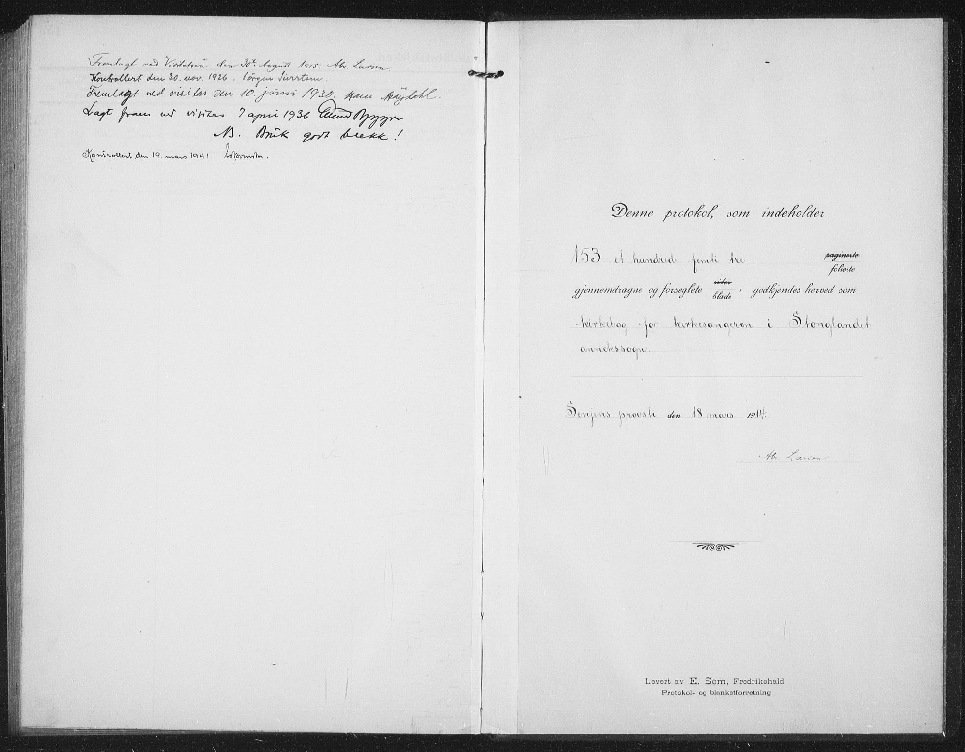SATØ, Tranøy sokneprestkontor, I/Ia/Iab/L0019klokker: Klokkerbok nr. 19, 1914-1940
