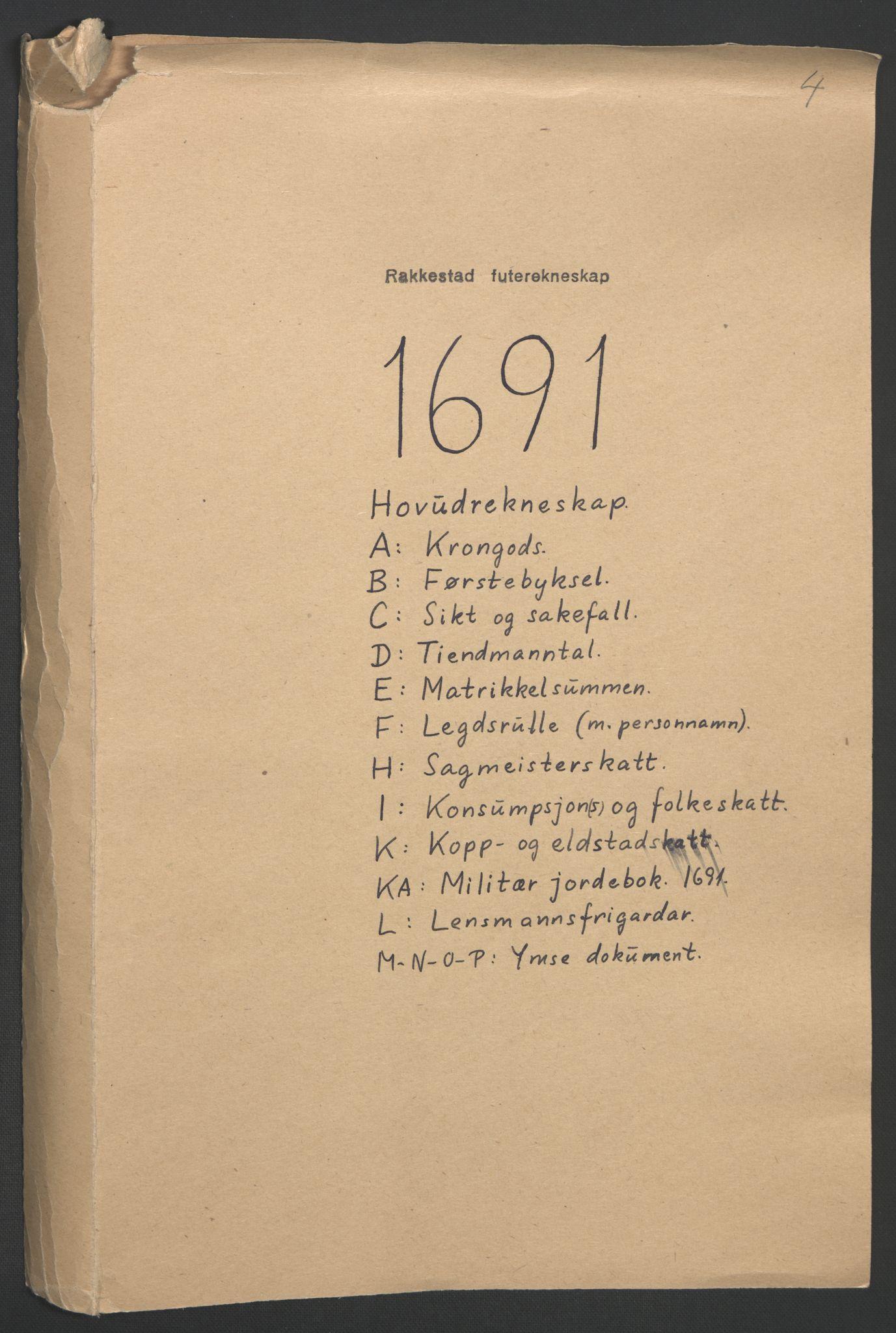 RA, Rentekammeret inntil 1814, Reviderte regnskaper, Fogderegnskap, R05/L0278: Fogderegnskap Rakkestad, 1691-1693, s. 2