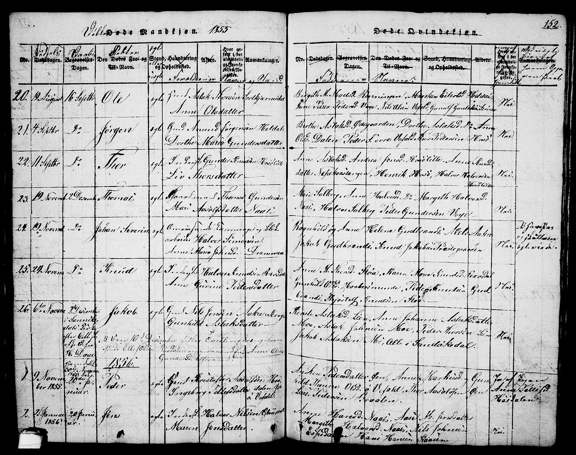 SAKO, Drangedal kirkebøker, G/Ga/L0001: Klokkerbok nr. I 1 /1, 1814-1856, s. 152