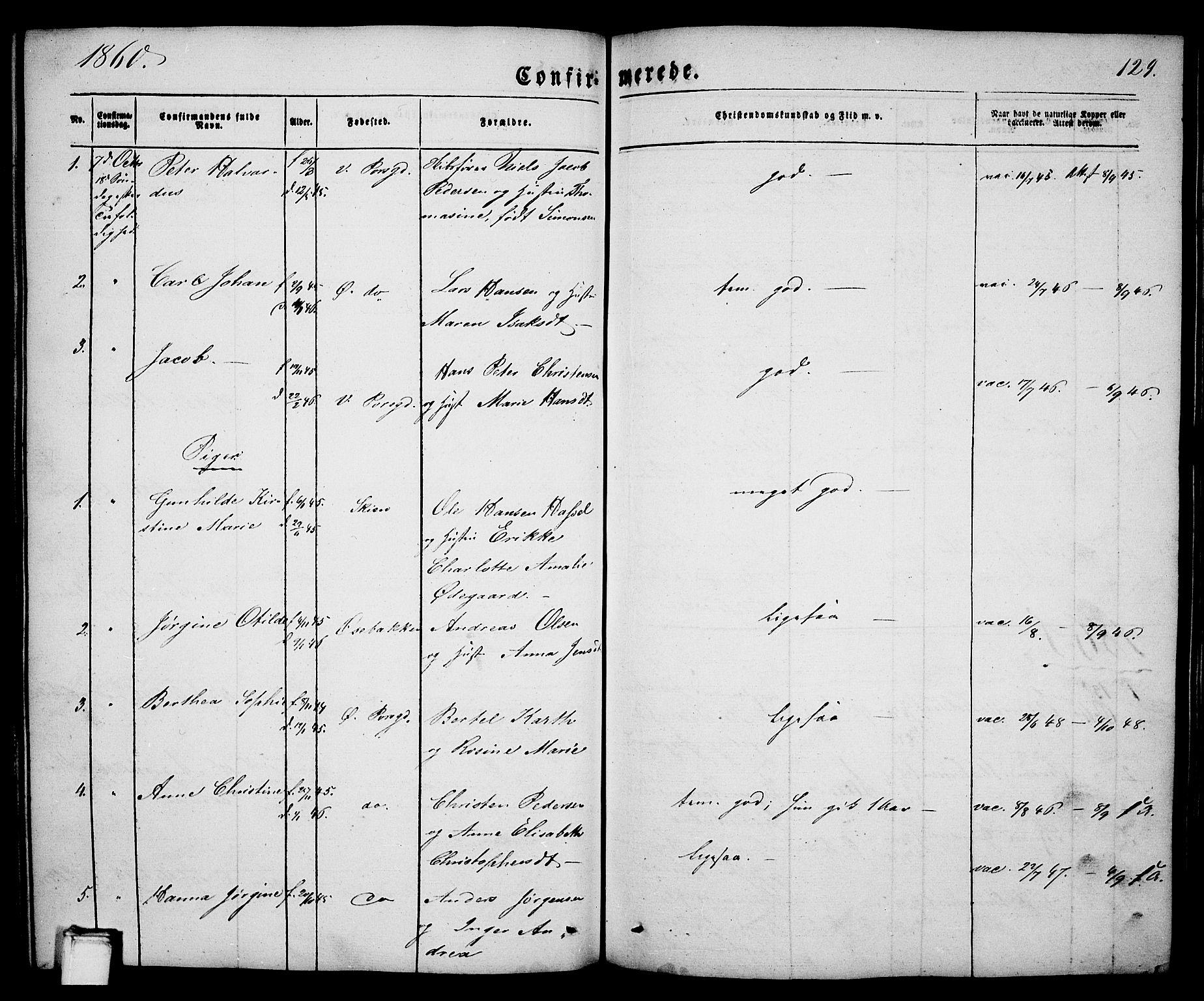 SAKO, Porsgrunn kirkebøker , G/Ga/L0002: Klokkerbok nr. I 2, 1847-1877, s. 129