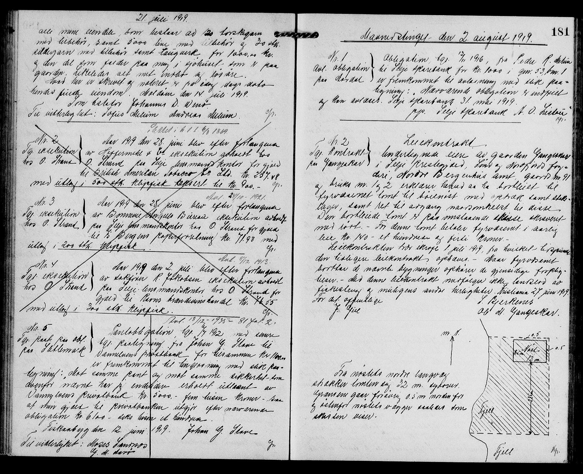 SAB, Nordfjord Sorenskriveri, 02/02b/02bb/L0009: Pantebok nr. II.B.b.9, 1913-1921, s. 181