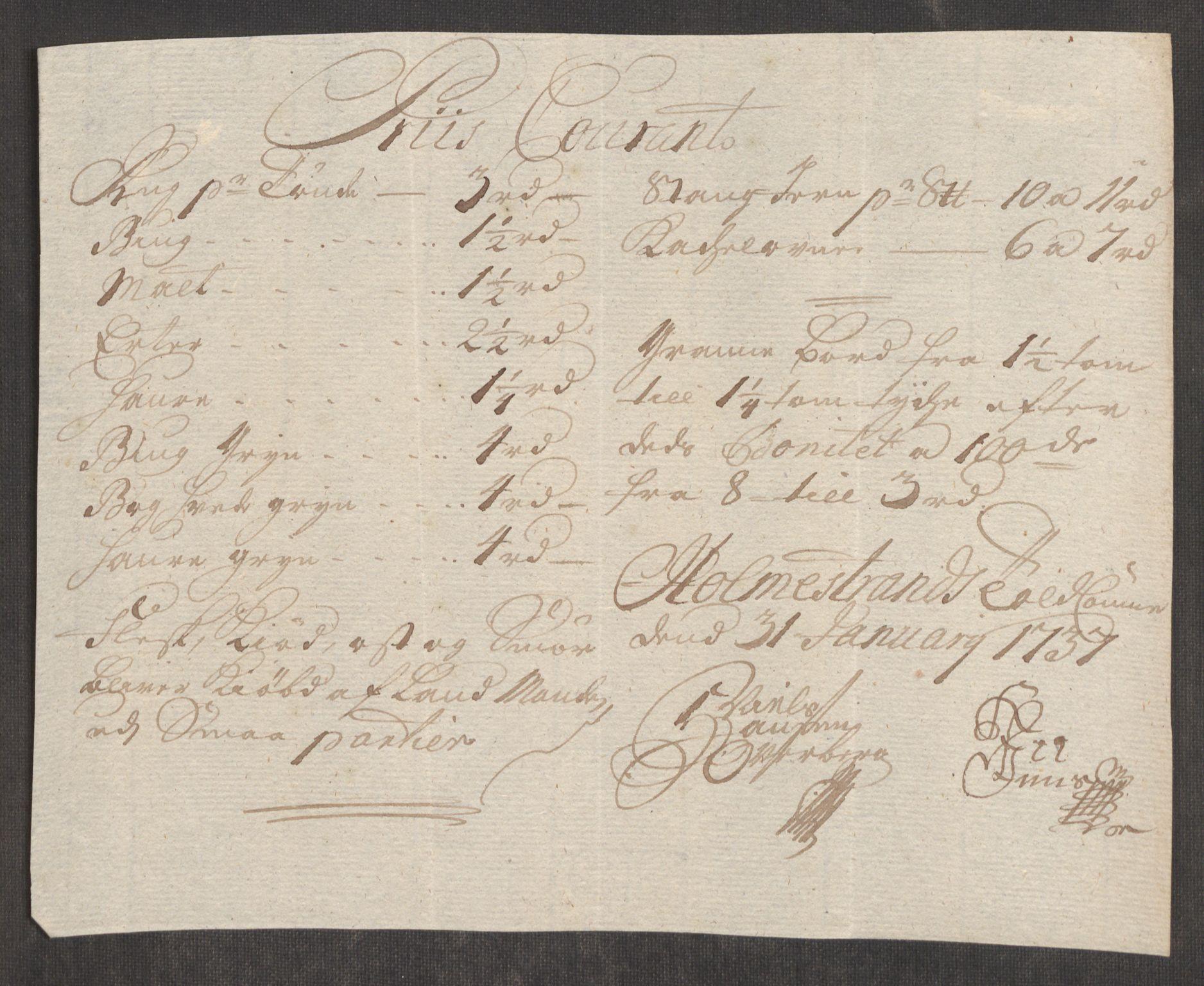 RA, Rentekammeret inntil 1814, Realistisk ordnet avdeling, Oe/L0001: [Ø1]: Priskuranter, 1712-1739, s. 516