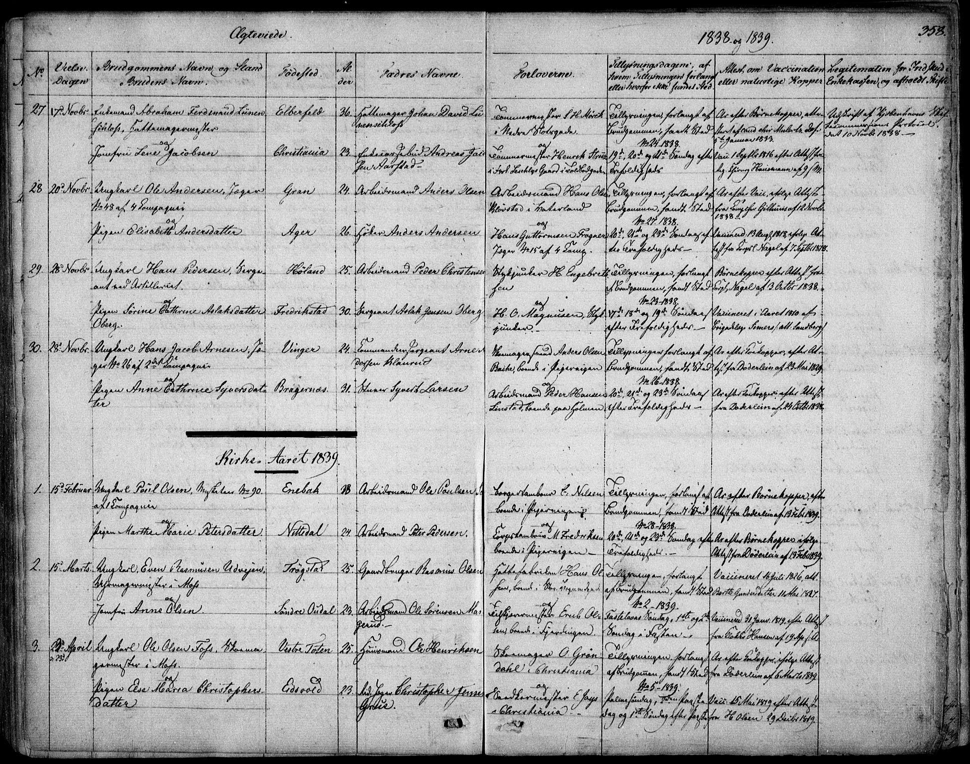 SAO, Garnisonsmenigheten Kirkebøker, F/Fa/L0006: Ministerialbok nr. 6, 1828-1841, s. 358