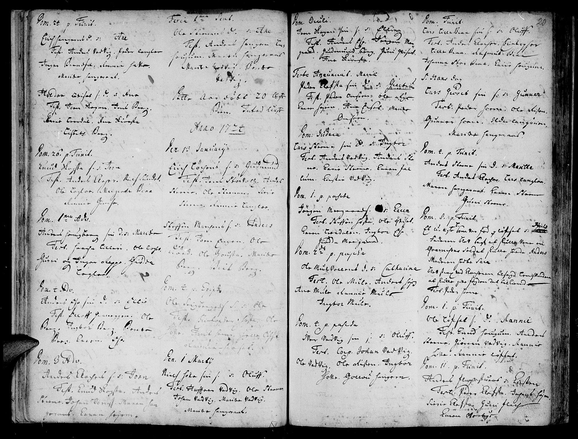 SAT, Ministerialprotokoller, klokkerbøker og fødselsregistre - Sør-Trøndelag, 612/L0368: Ministerialbok nr. 612A02, 1702-1753, s. 20
