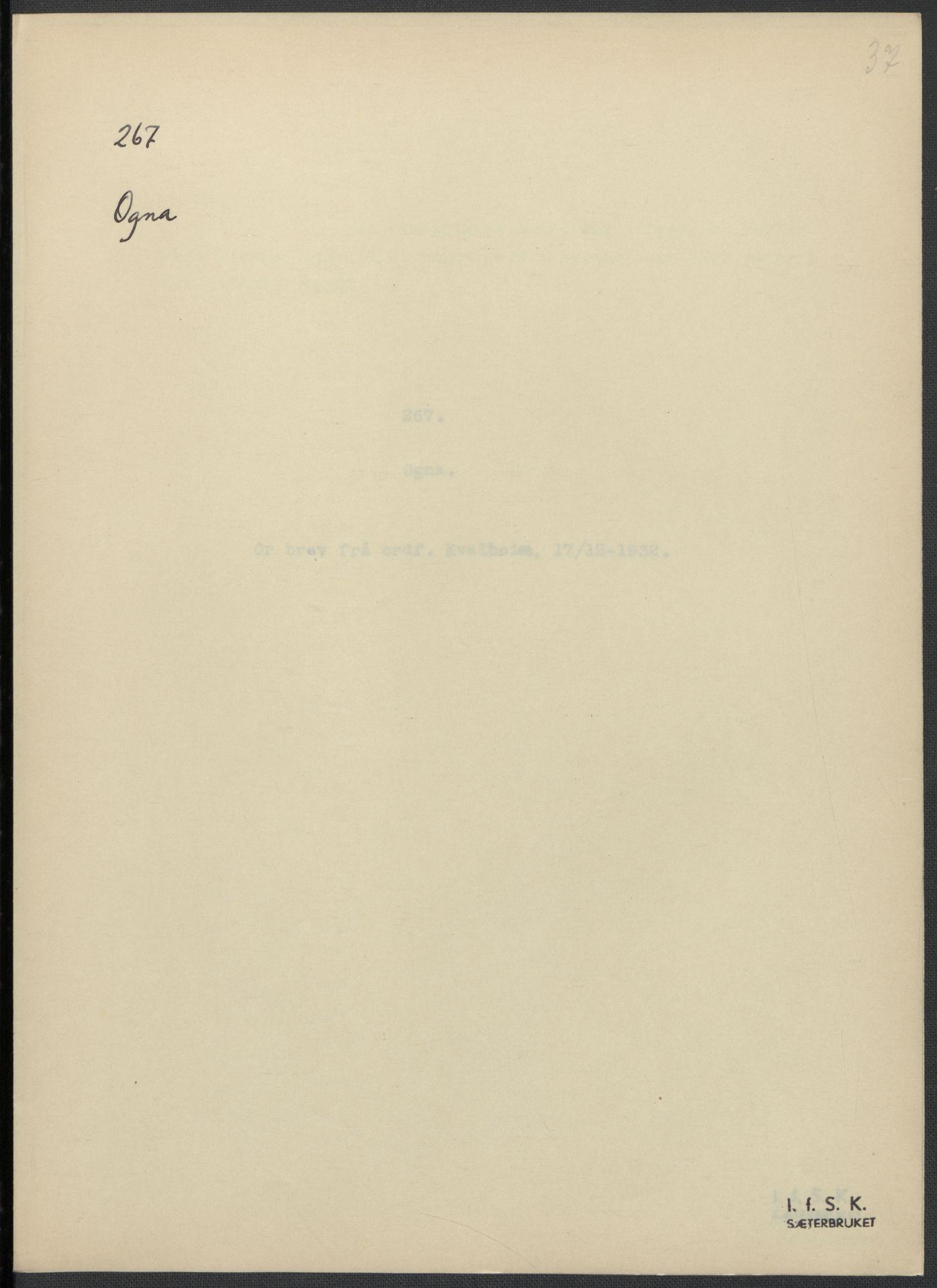RA, Instituttet for sammenlignende kulturforskning, F/Fc/L0009: Eske B9:, 1932-1935, s. 37