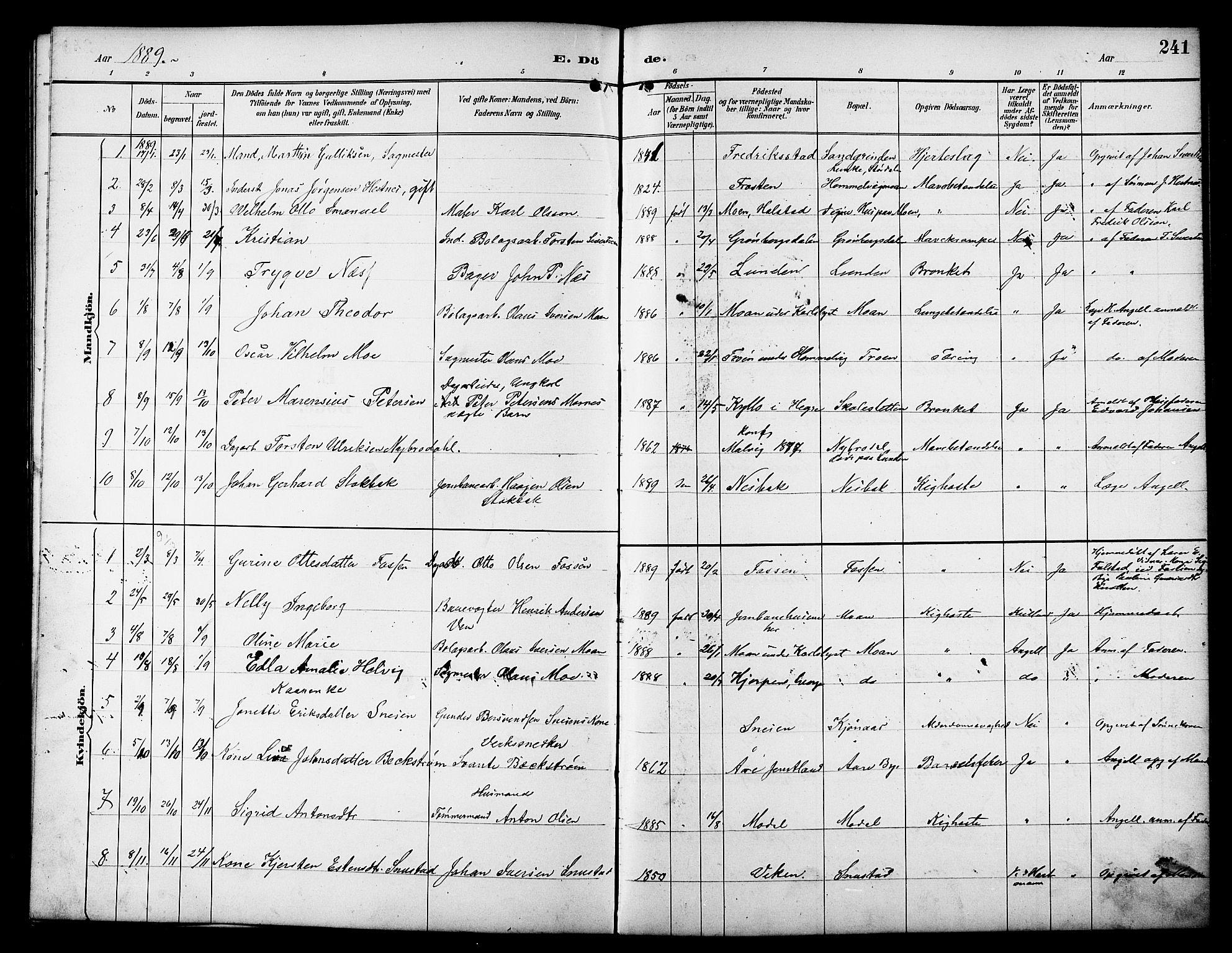 SAT, Ministerialprotokoller, klokkerbøker og fødselsregistre - Sør-Trøndelag, 617/L0431: Klokkerbok nr. 617C01, 1889-1910, s. 241