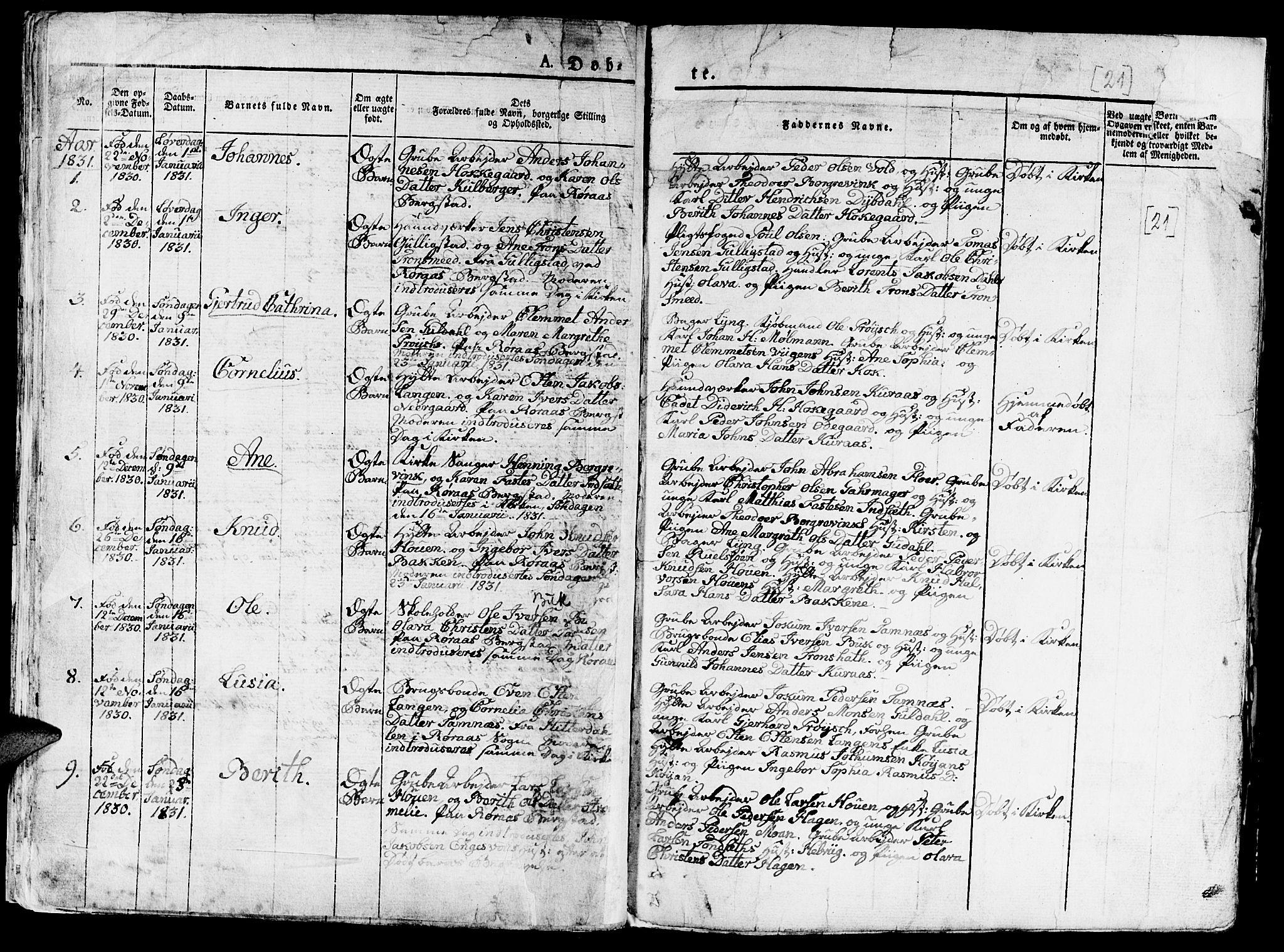 SAT, Ministerialprotokoller, klokkerbøker og fødselsregistre - Sør-Trøndelag, 681/L0938: Klokkerbok nr. 681C02, 1829-1879, s. 21