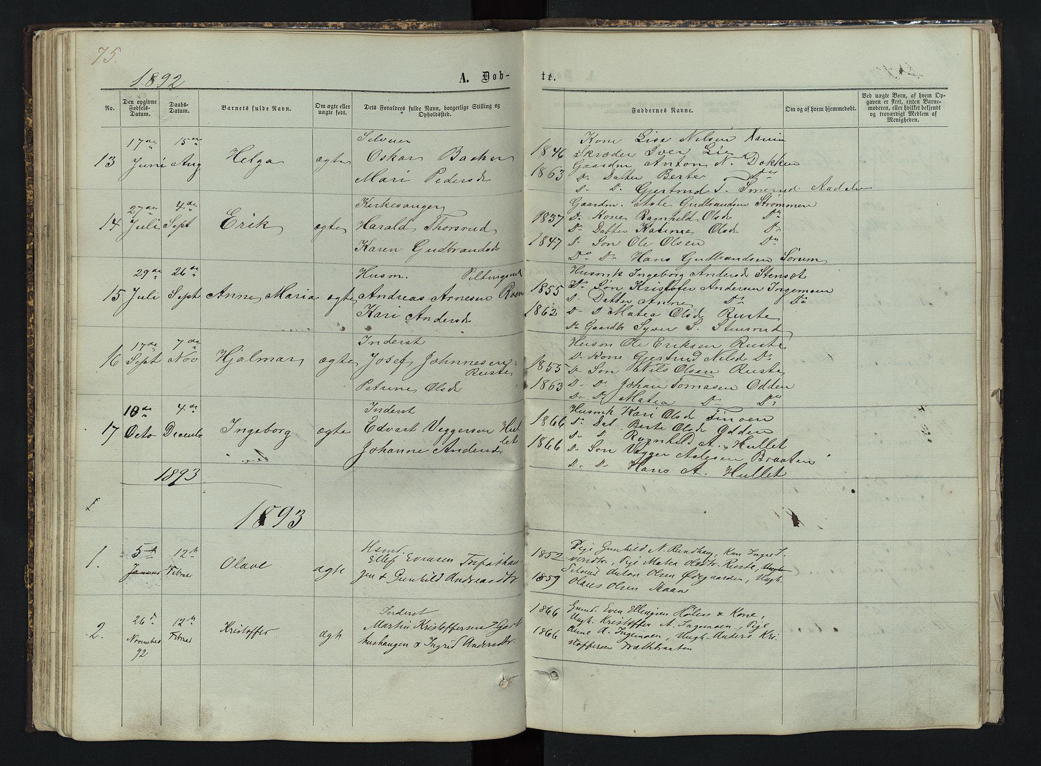 SAH, Sør-Aurdal prestekontor, Klokkerbok nr. 3, 1862-1893, s. 75