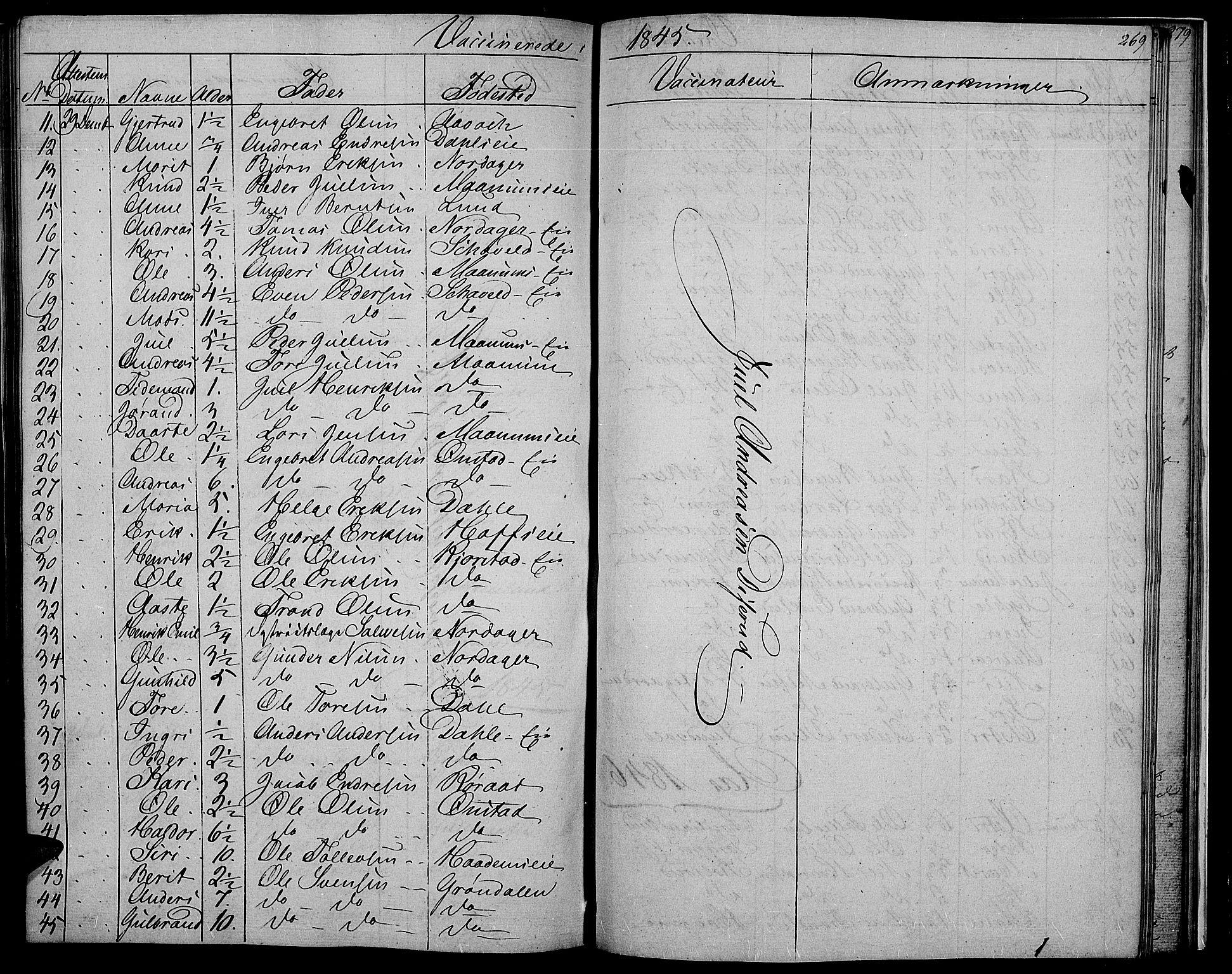 SAH, Nord-Aurdal prestekontor, Klokkerbok nr. 2, 1842-1877, s. 269