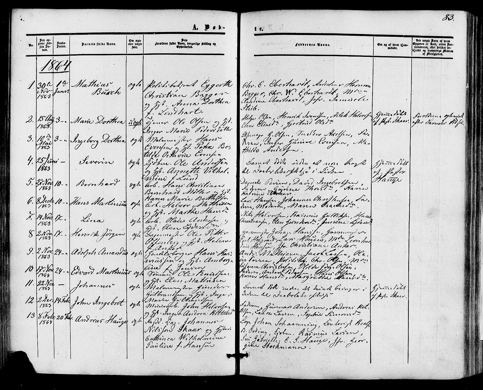 SAKO, Skien kirkebøker, F/Fa/L0007: Ministerialbok nr. 7, 1856-1865, s. 83