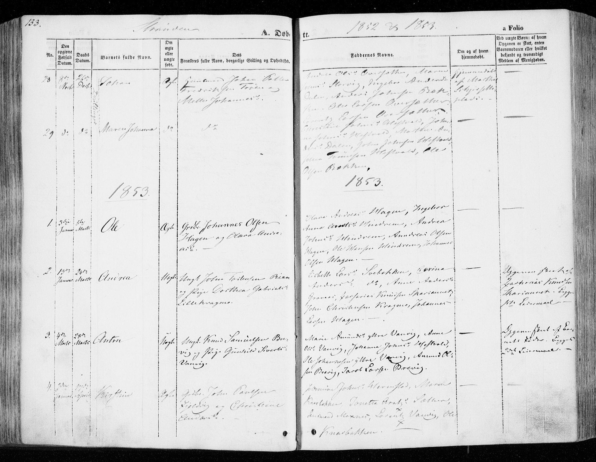 SAT, Ministerialprotokoller, klokkerbøker og fødselsregistre - Nord-Trøndelag, 701/L0007: Ministerialbok nr. 701A07 /2, 1842-1854, s. 133