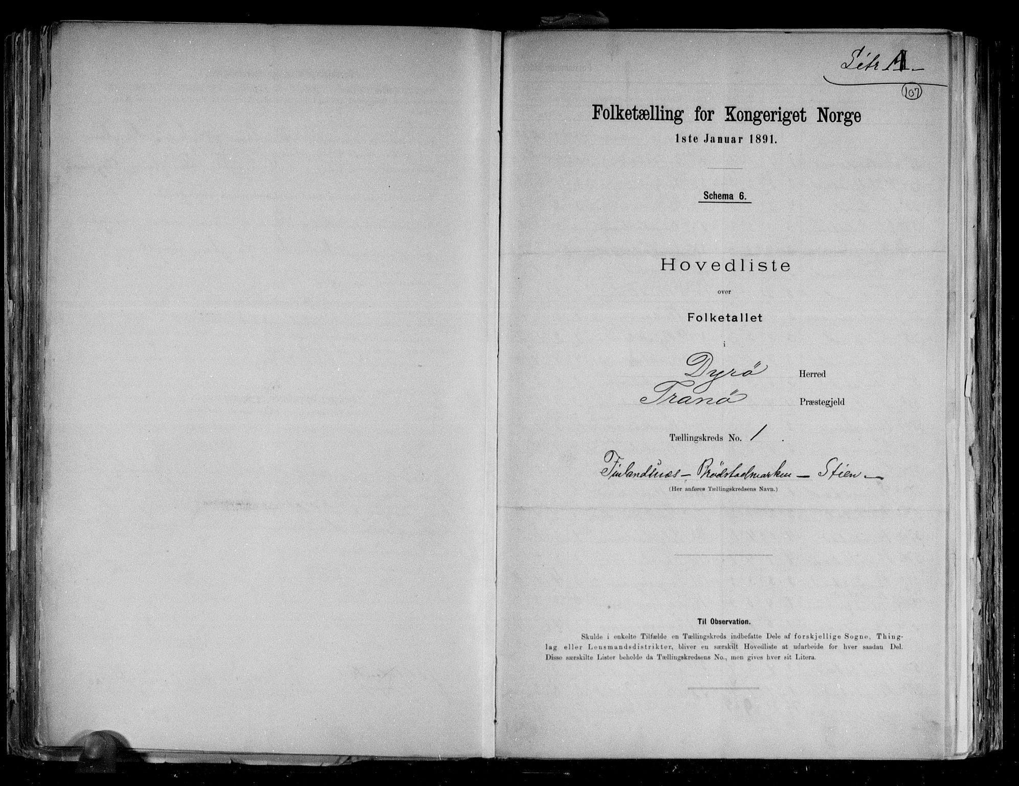 RA, Folketelling 1891 for 1926 Dyrøy herred, 1891, s. 4