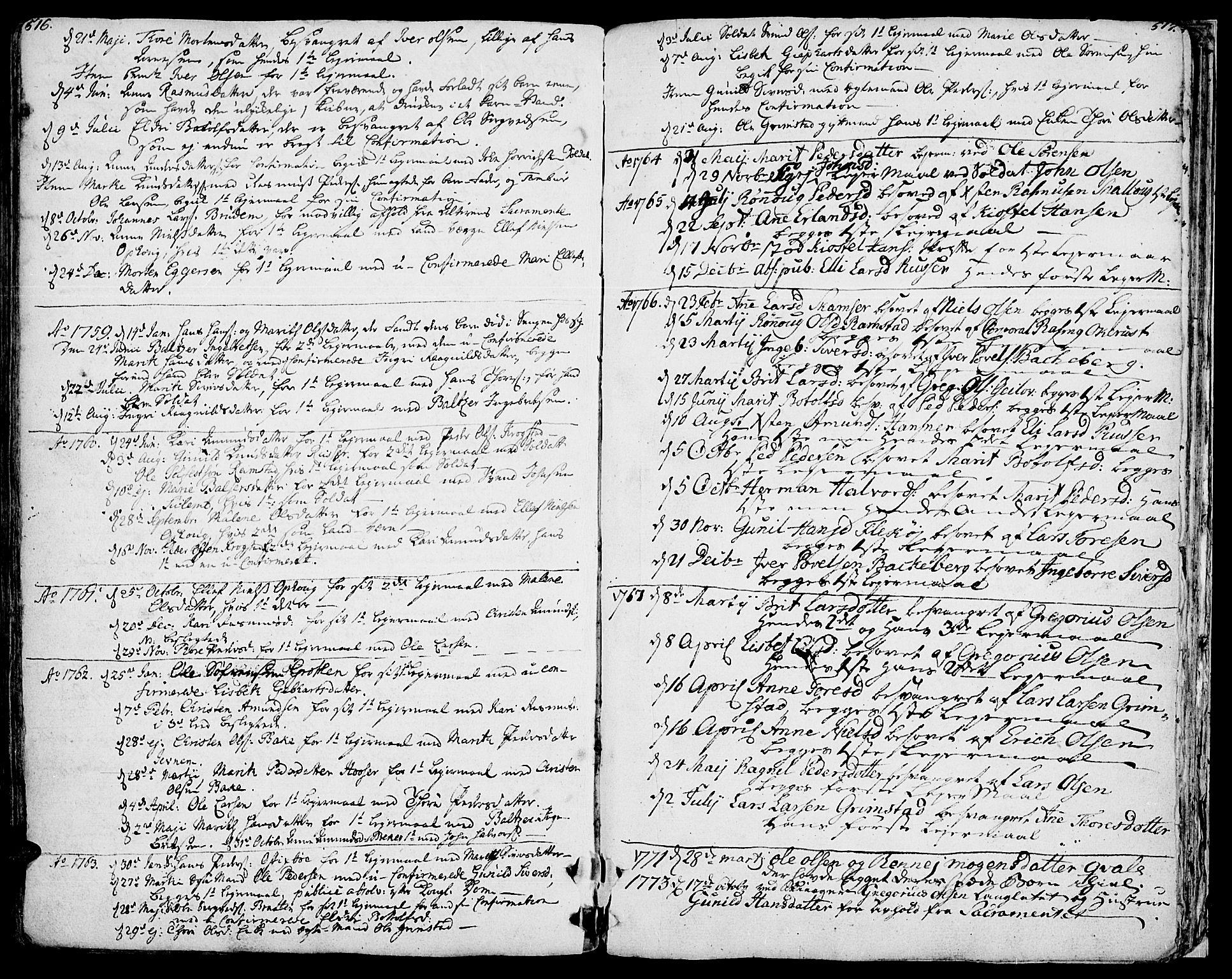 SAH, Lom prestekontor, K/L0002: Ministerialbok nr. 2, 1749-1801, s. 516-517