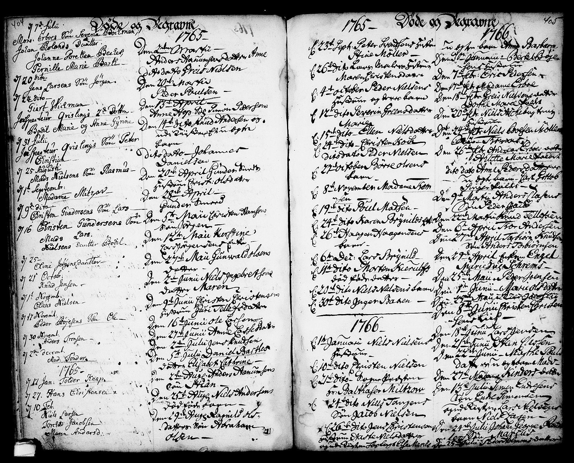 SAKO, Kragerø kirkebøker, F/Fa/L0001: Ministerialbok nr. 1, 1702-1766, s. 404-405