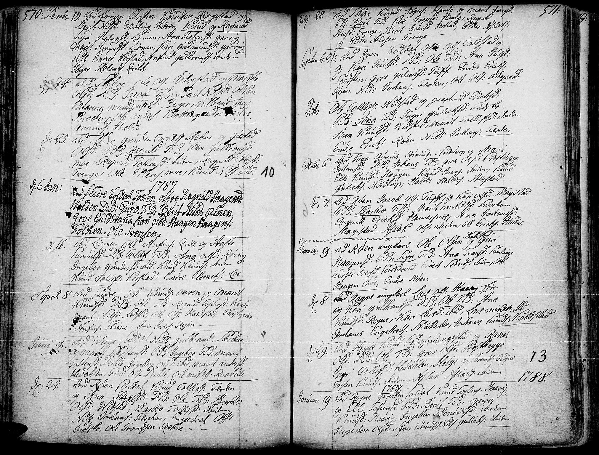 SAH, Slidre prestekontor, Ministerialbok nr. 1, 1724-1814, s. 570-571