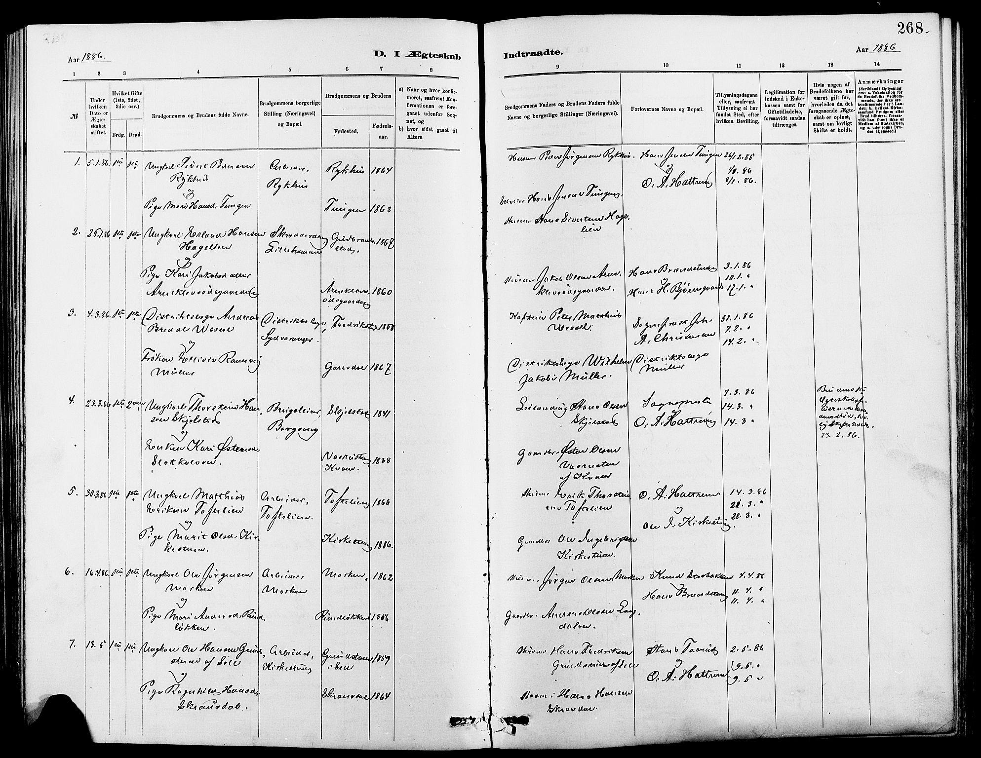 SAH, Dovre prestekontor, Klokkerbok nr. 2, 1881-1907, s. 268