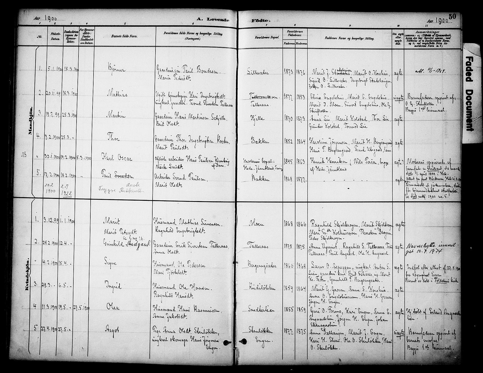 SAH, Dovre prestekontor, Ministerialbok nr. 3, 1891-1901, s. 50