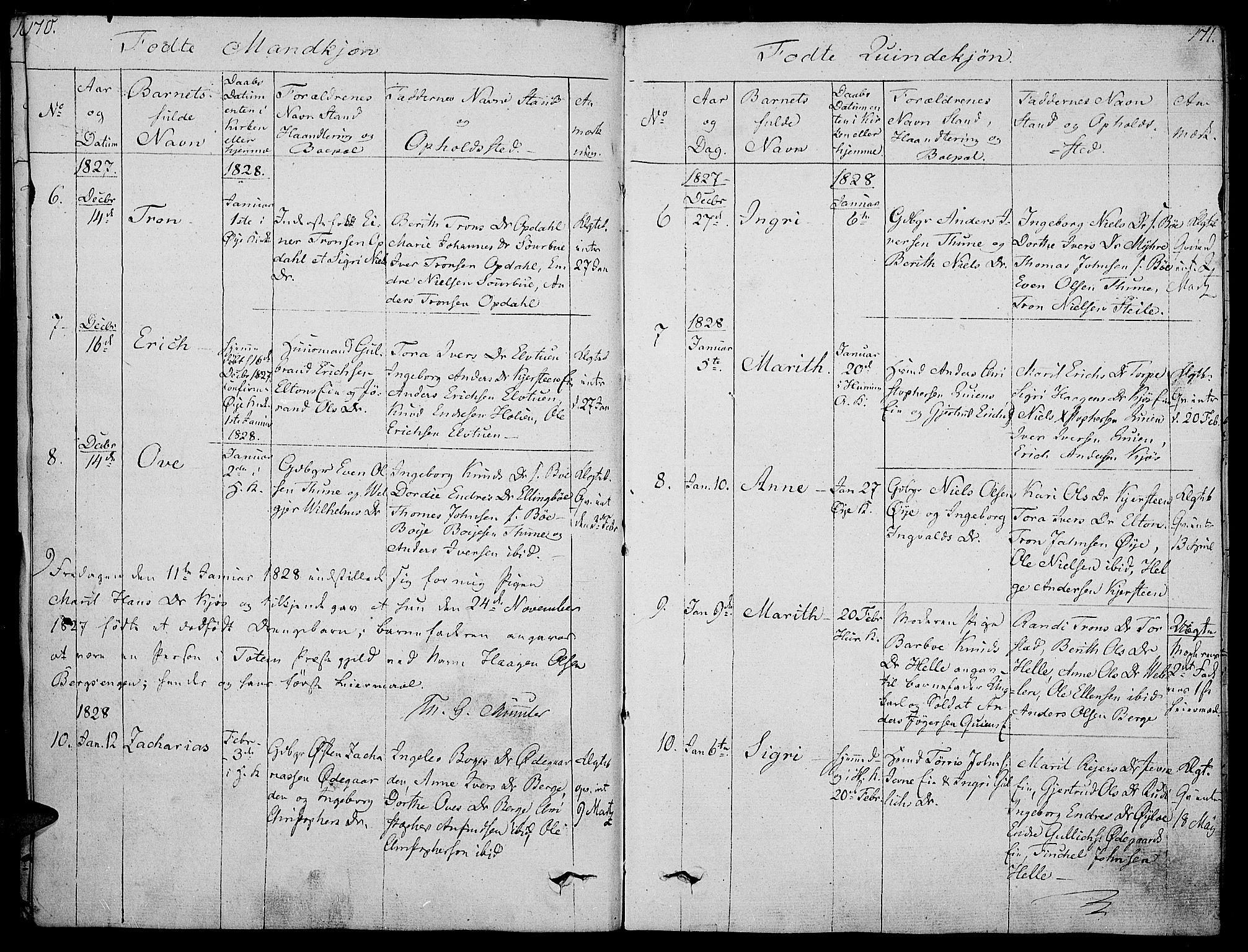 SAH, Vang prestekontor, Valdres, Ministerialbok nr. 3, 1809-1831, s. 170-171