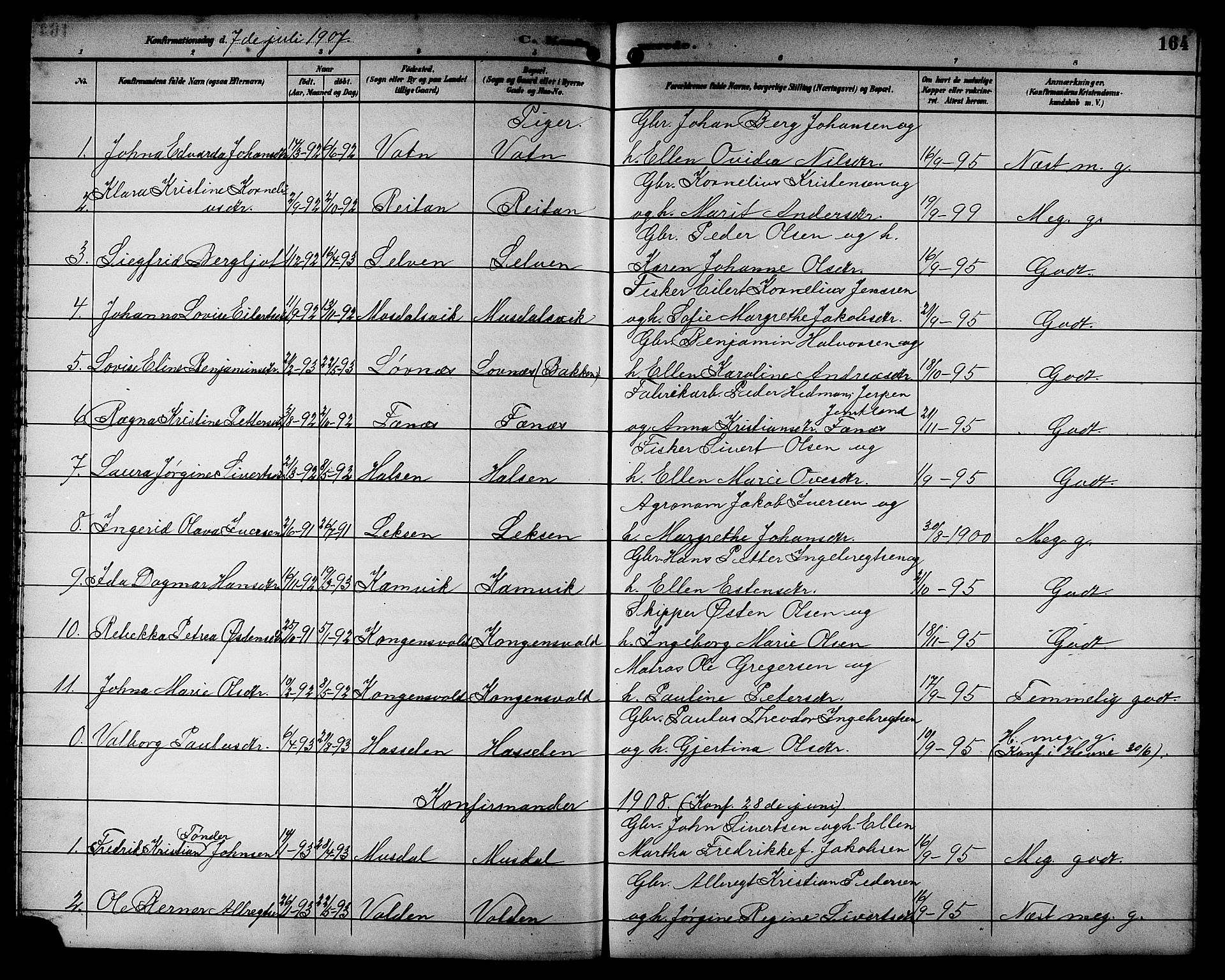 SAT, Ministerialprotokoller, klokkerbøker og fødselsregistre - Sør-Trøndelag, 662/L0757: Klokkerbok nr. 662C02, 1892-1918, s. 164