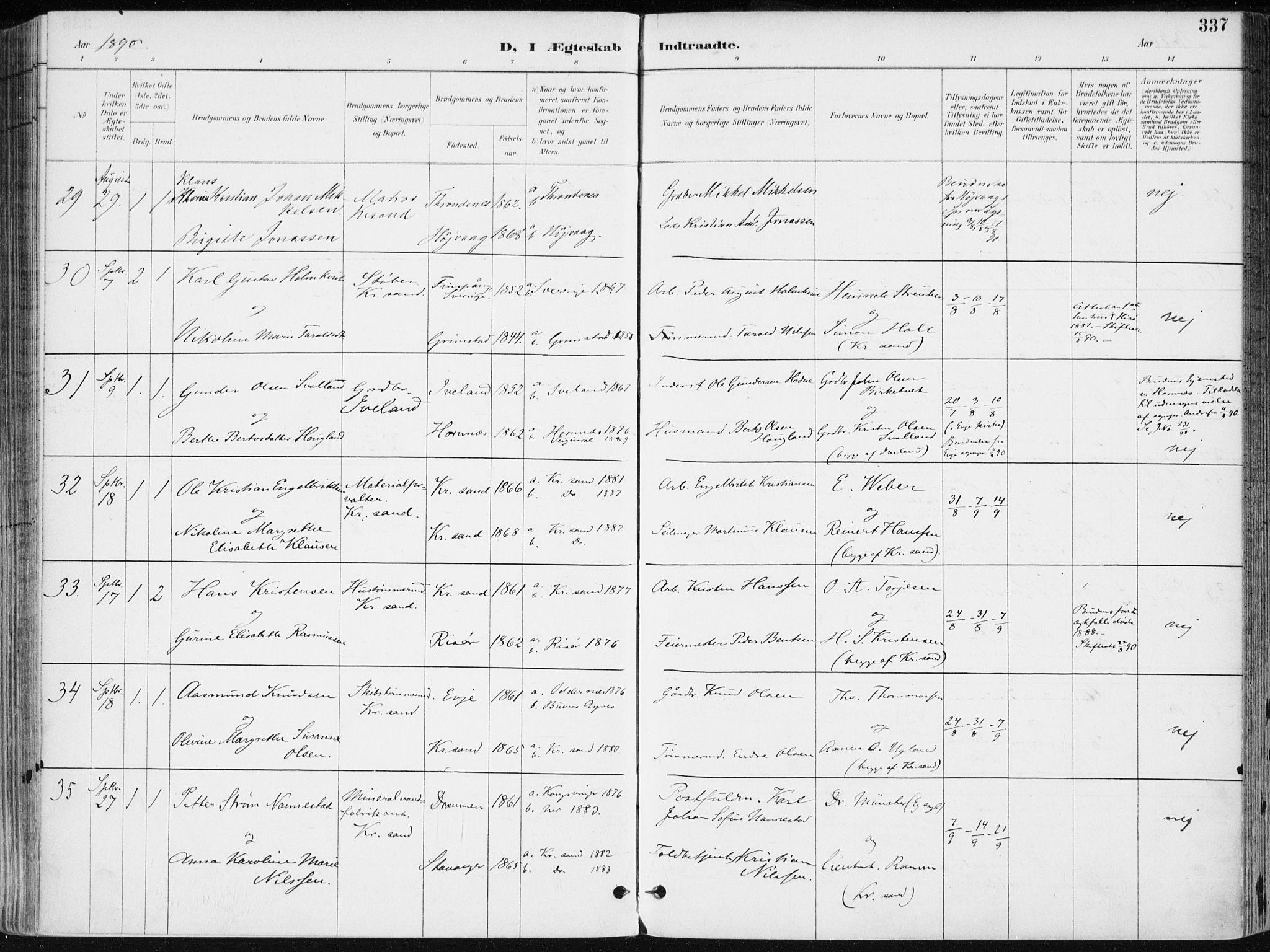 SAK, Kristiansand domprosti, F/Fa/L0019: Ministerialbok nr. A 18, 1890-1897, s. 337