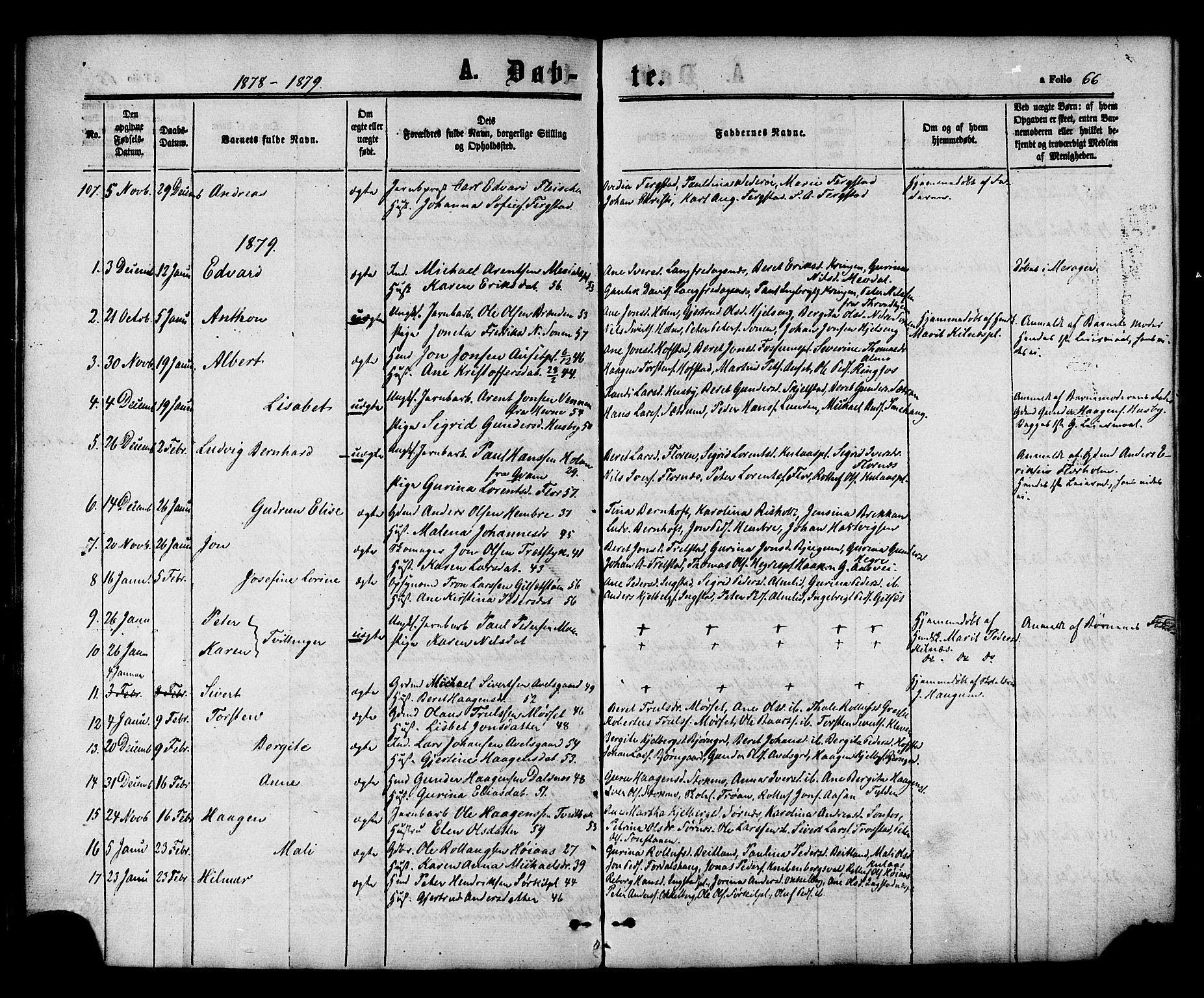 SAT, Ministerialprotokoller, klokkerbøker og fødselsregistre - Nord-Trøndelag, 703/L0029: Ministerialbok nr. 703A02, 1863-1879, s. 66