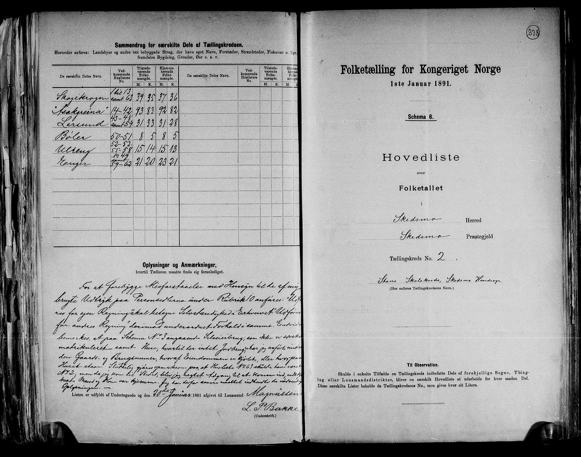 RA, Folketelling 1891 for 0231 Skedsmo herred, 1891, s. 6