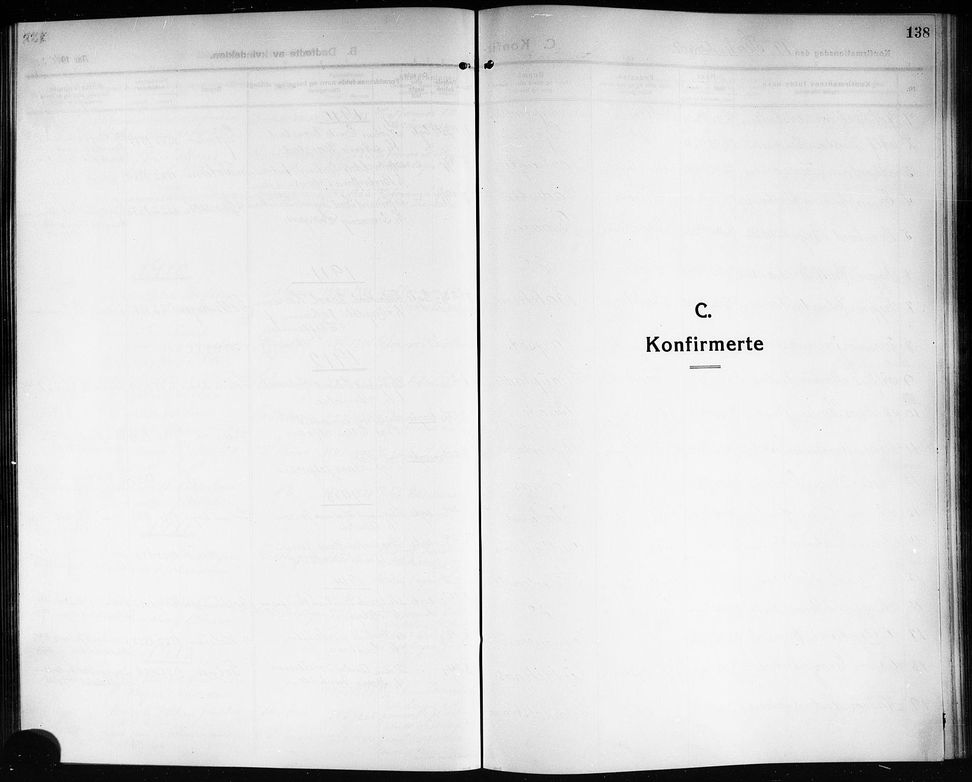 SAKO, Solum kirkebøker, G/Ga/L0009: Klokkerbok nr. I 9, 1909-1922, s. 138