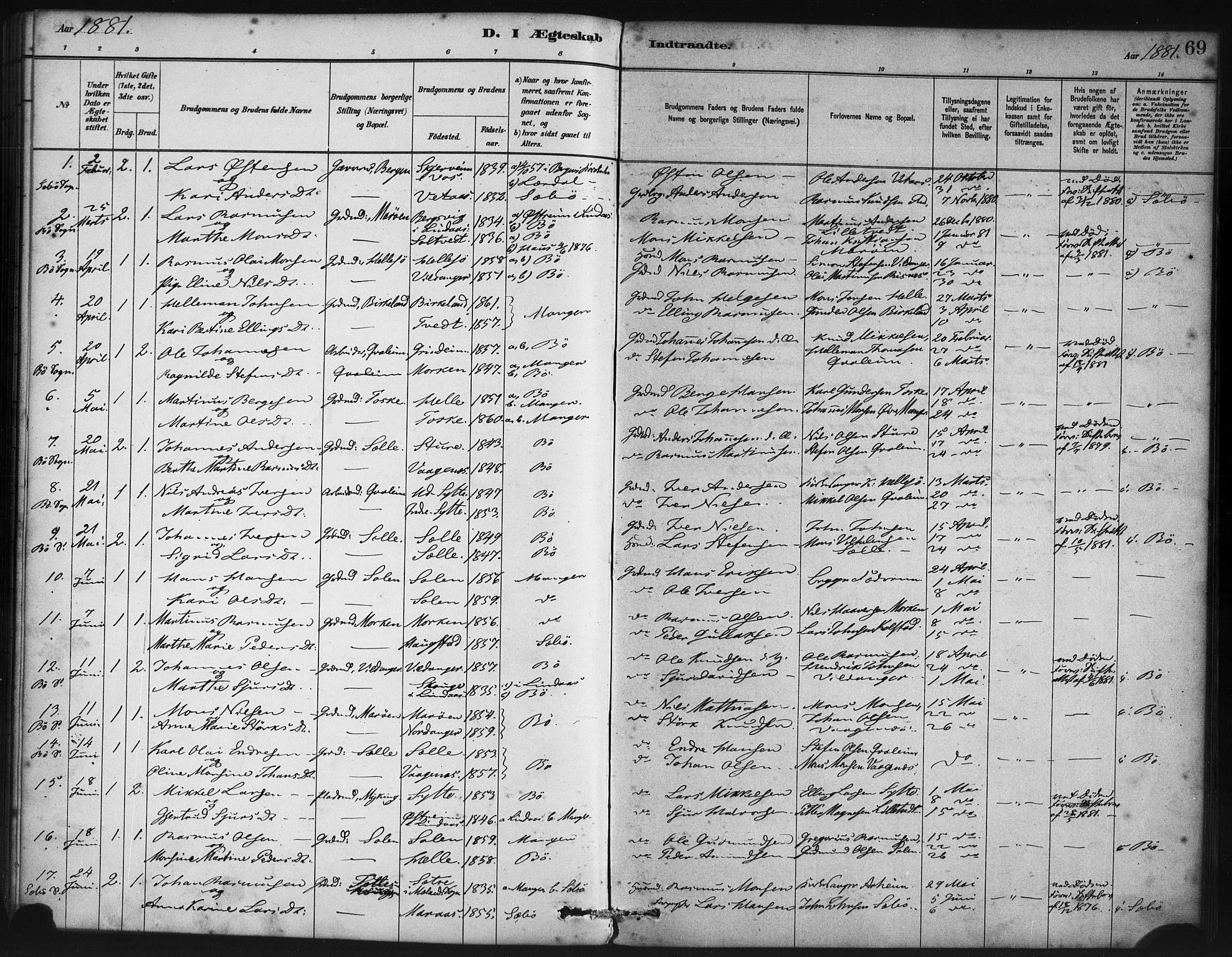 SAB, Manger sokneprestembete, H/Haa: Ministerialbok nr. B 1, 1881-1892, s. 69