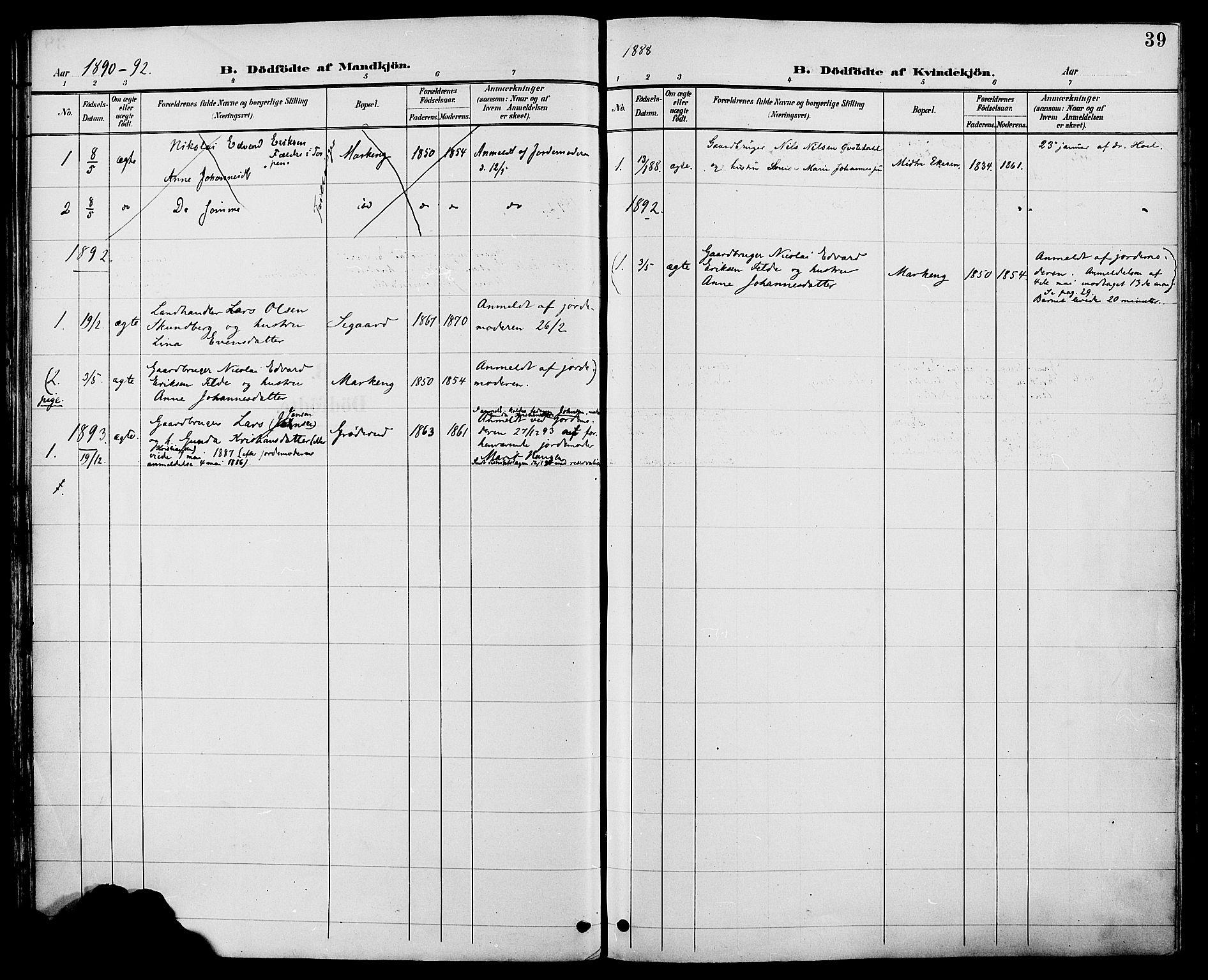 SAH, Biri prestekontor, Ministerialbok nr. 7, 1887-1893, s. 39