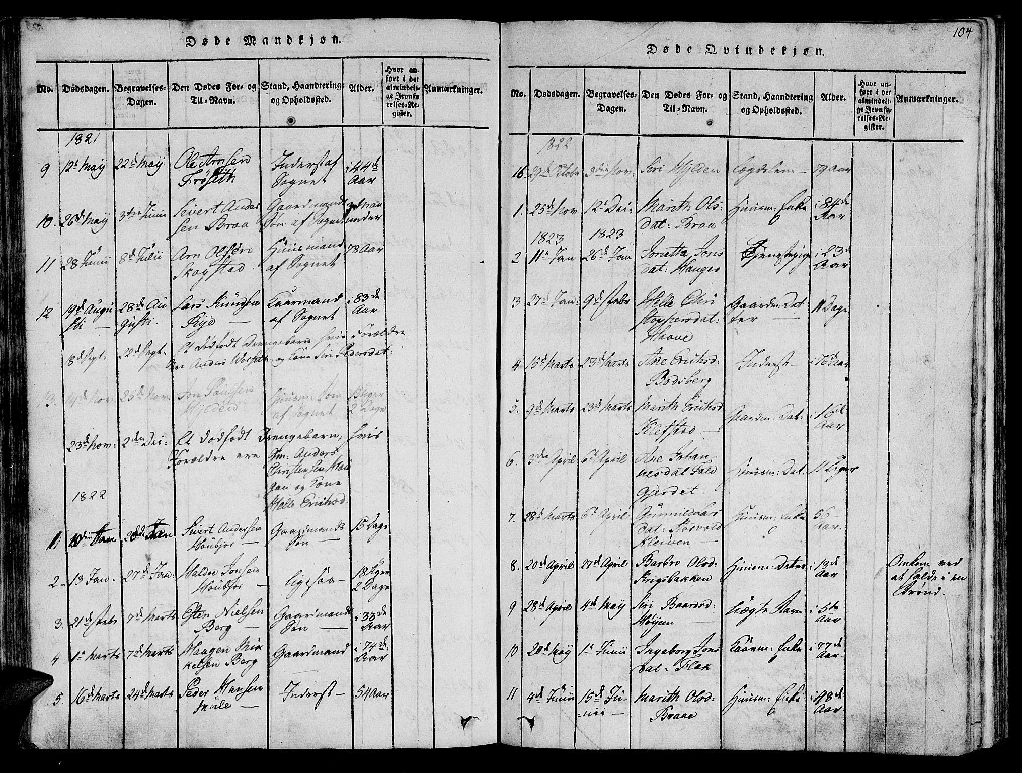 SAT, Ministerialprotokoller, klokkerbøker og fødselsregistre - Sør-Trøndelag, 612/L0372: Ministerialbok nr. 612A06 /1, 1816-1828, s. 104