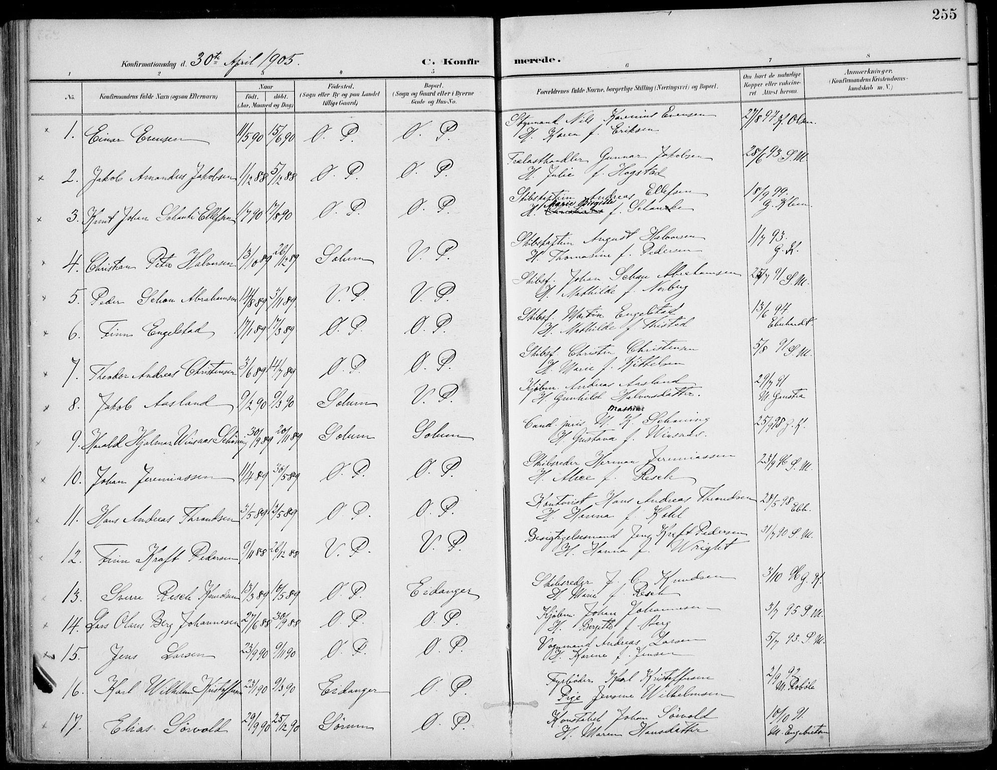 SAKO, Porsgrunn kirkebøker , F/Fa/L0011: Ministerialbok nr. 11, 1895-1919, s. 255