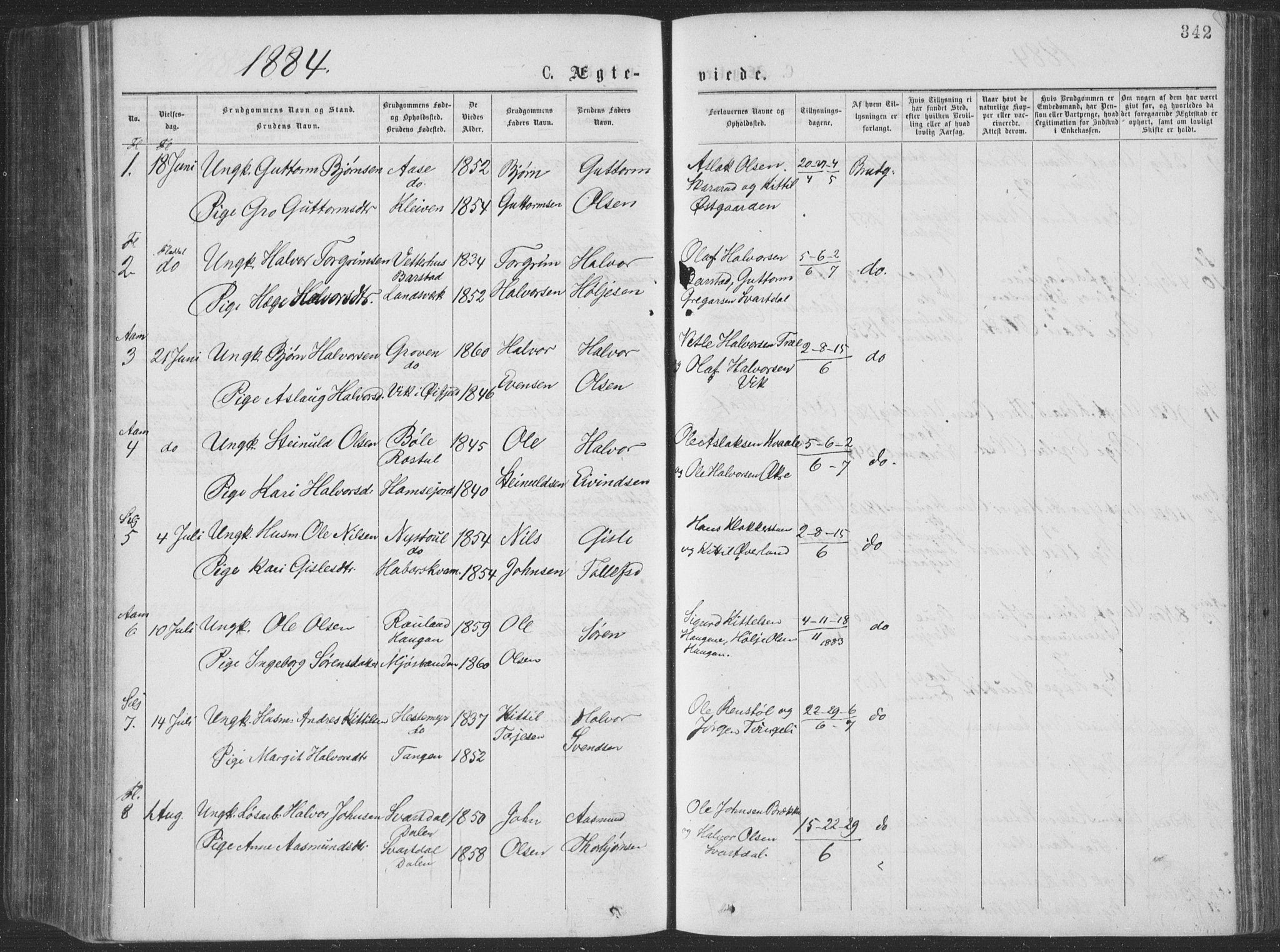 SAKO, Seljord kirkebøker, F/Fa/L0014: Ministerialbok nr. I 14, 1877-1886, s. 342