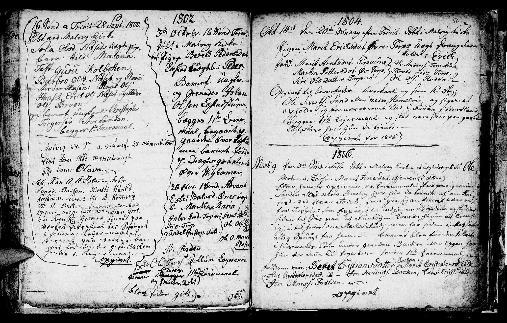 SAT, Ministerialprotokoller, klokkerbøker og fødselsregistre - Sør-Trøndelag, 616/L0419: Klokkerbok nr. 616C02, 1797-1816, s. 50