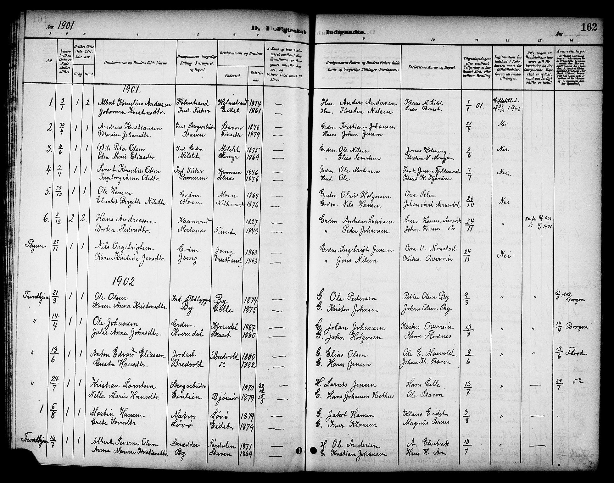 SAT, Ministerialprotokoller, klokkerbøker og fødselsregistre - Sør-Trøndelag, 655/L0688: Klokkerbok nr. 655C04, 1899-1922, s. 162