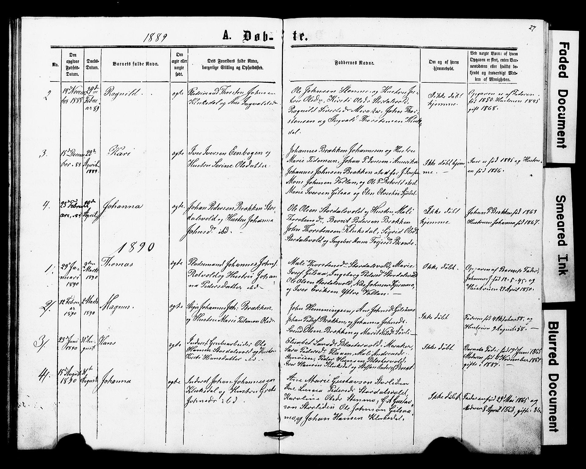 SAT, Ministerialprotokoller, klokkerbøker og fødselsregistre - Nord-Trøndelag, 707/L0052: Klokkerbok nr. 707C01, 1864-1897, s. 27