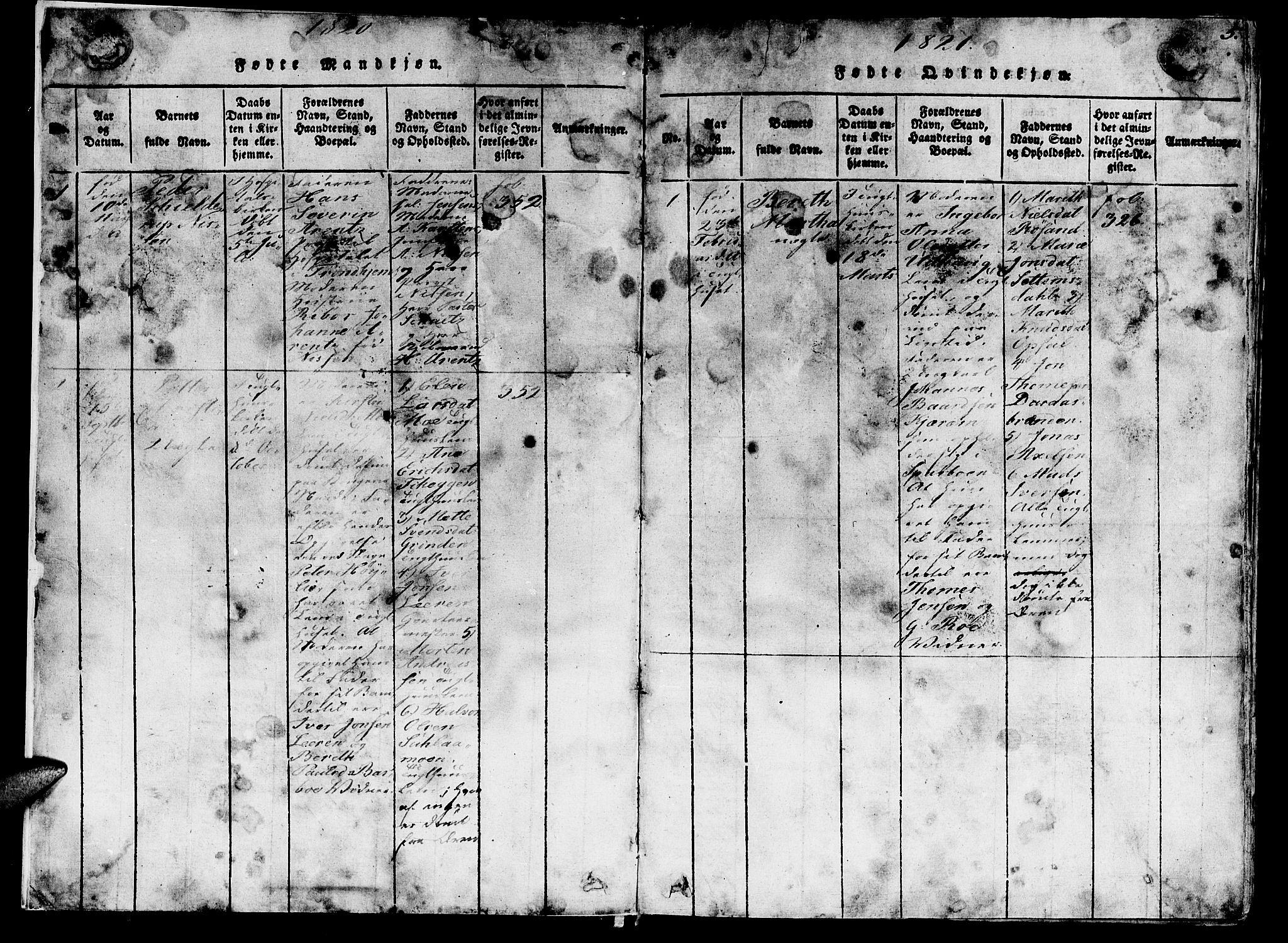 SAT, Ministerialprotokoller, klokkerbøker og fødselsregistre - Sør-Trøndelag, 623/L0478: Klokkerbok nr. 623C01, 1815-1873, s. 5