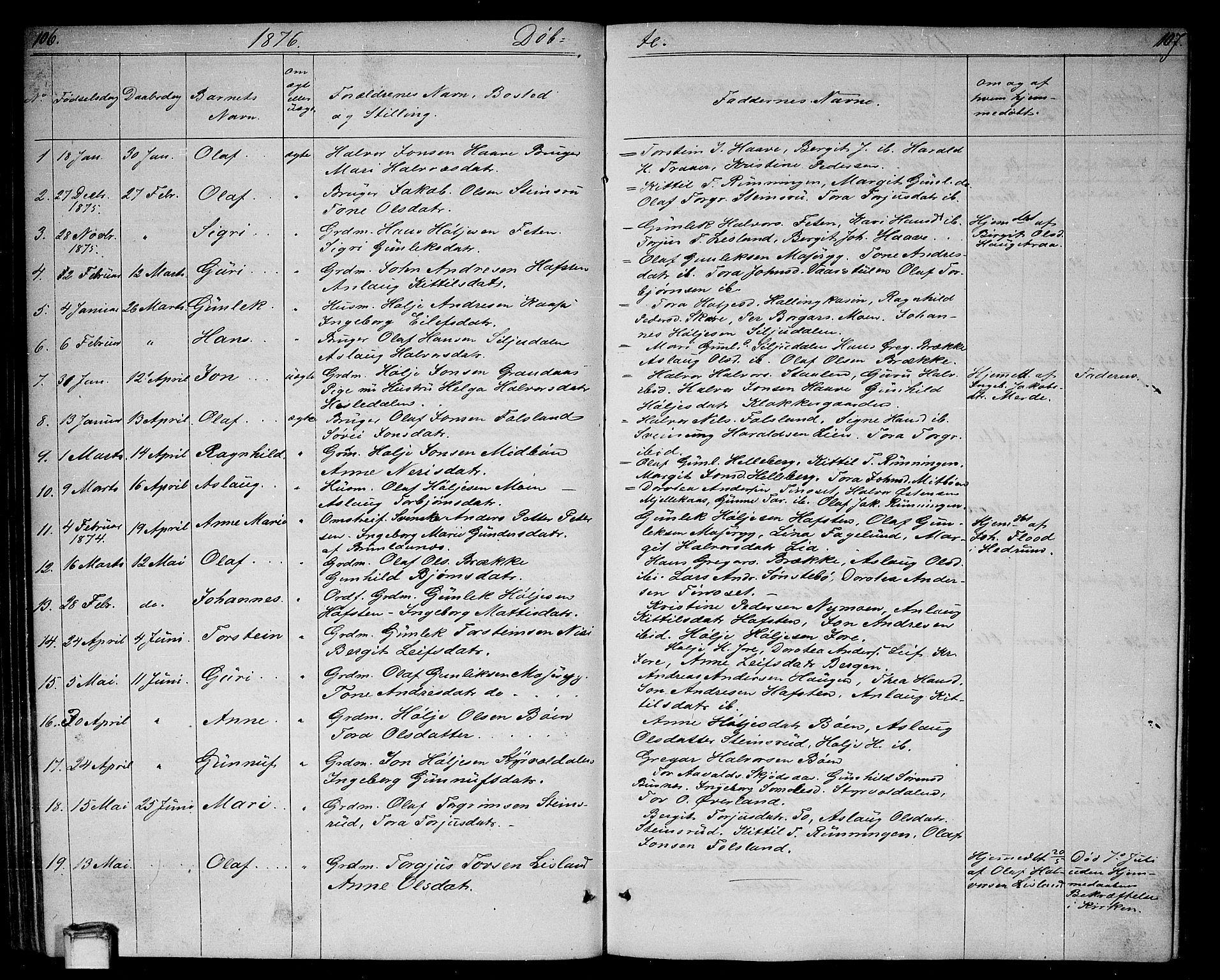 SAKO, Gransherad kirkebøker, G/Ga/L0002: Klokkerbok nr. I 2, 1854-1886, s. 106-107