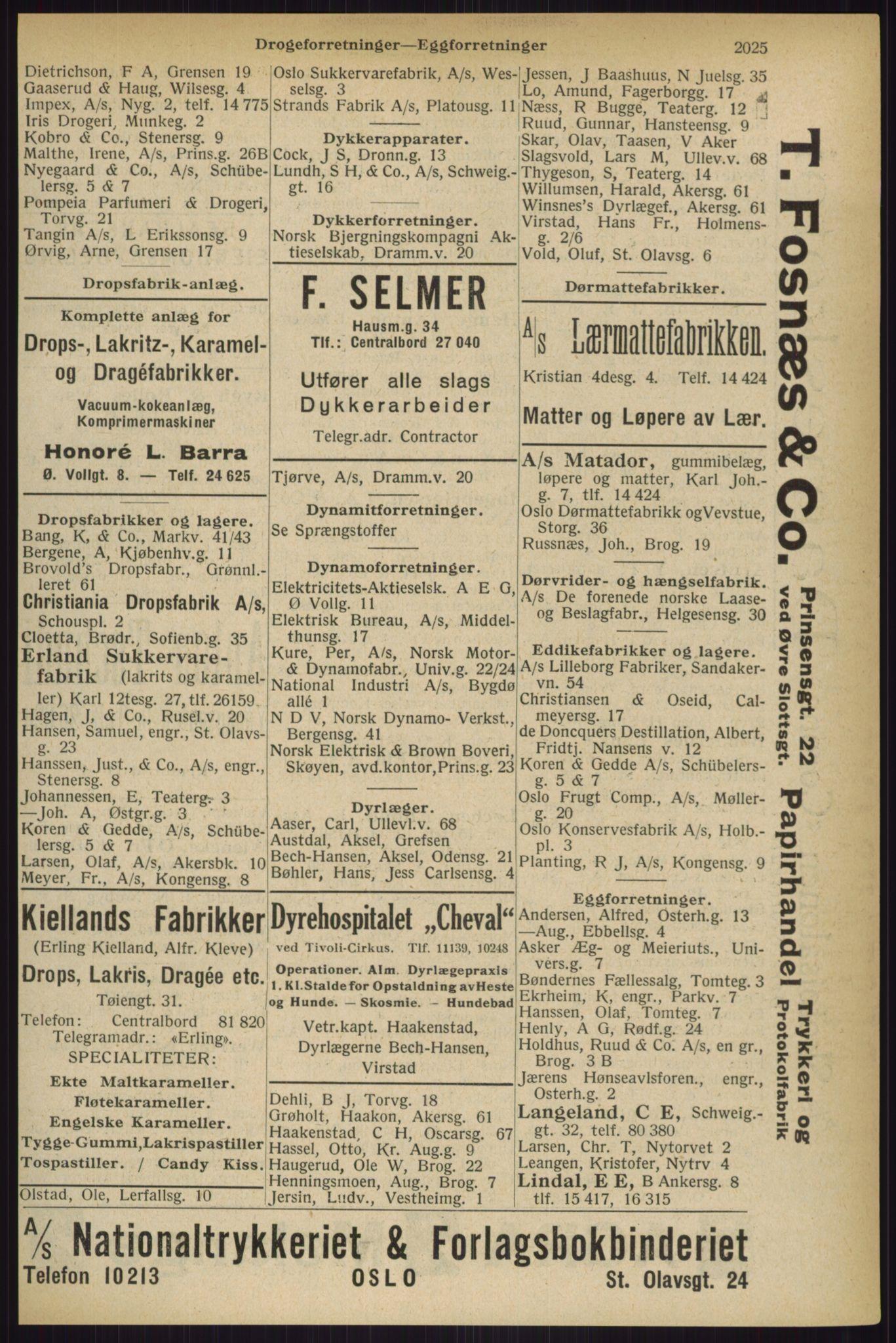 RA, Oslo adressebok (publikasjon)*, 1927, s. 2025
